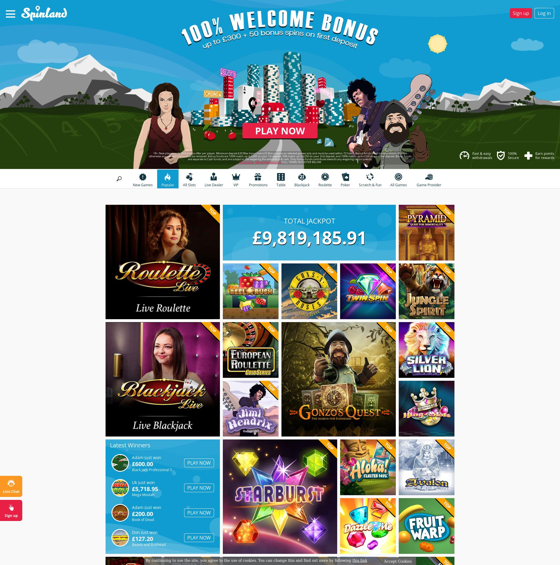 Casino screen Lobby 2019-10-20 for United Kingdom