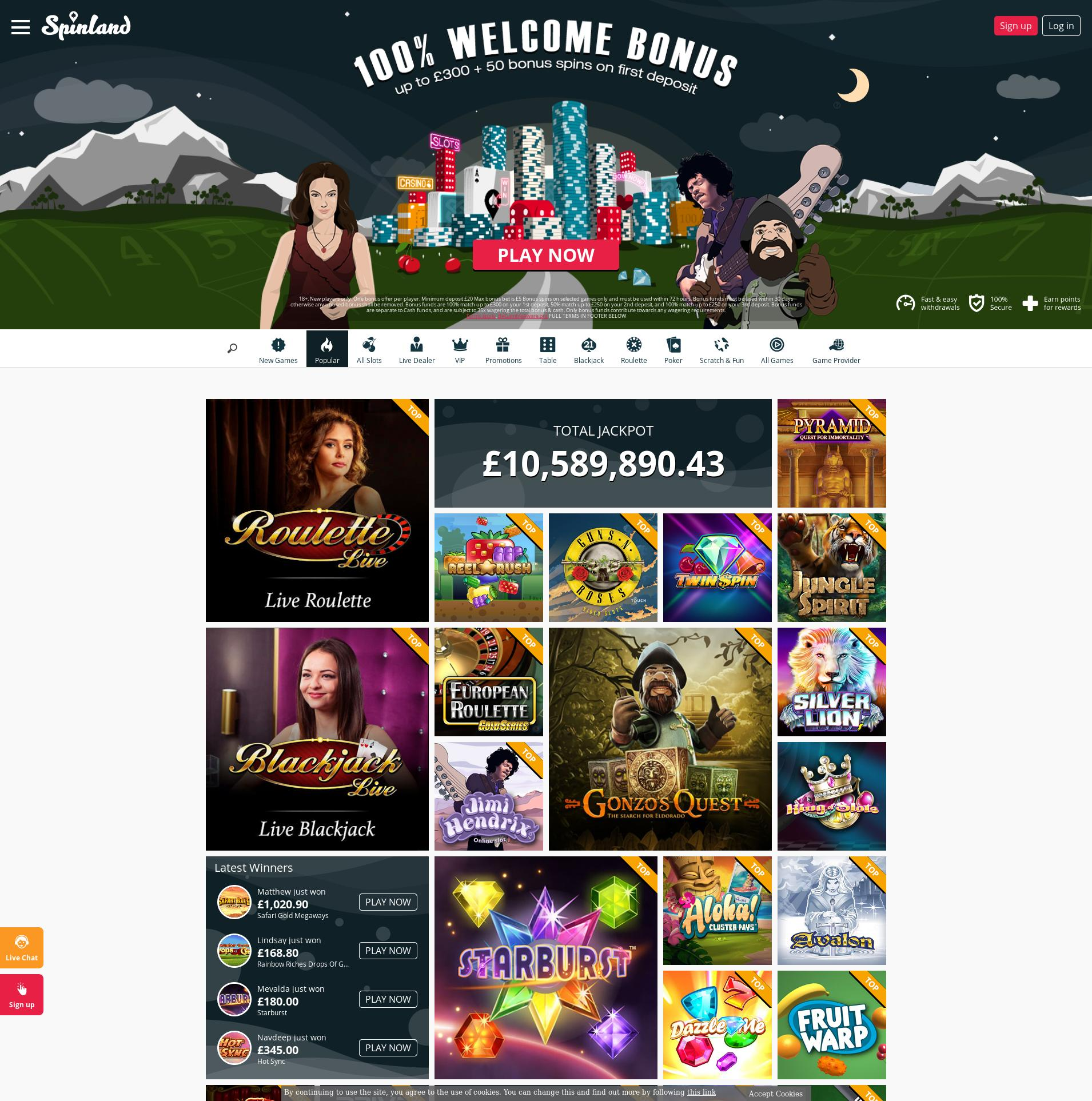 Casino screen Lobby 2019-11-14 for United Kingdom