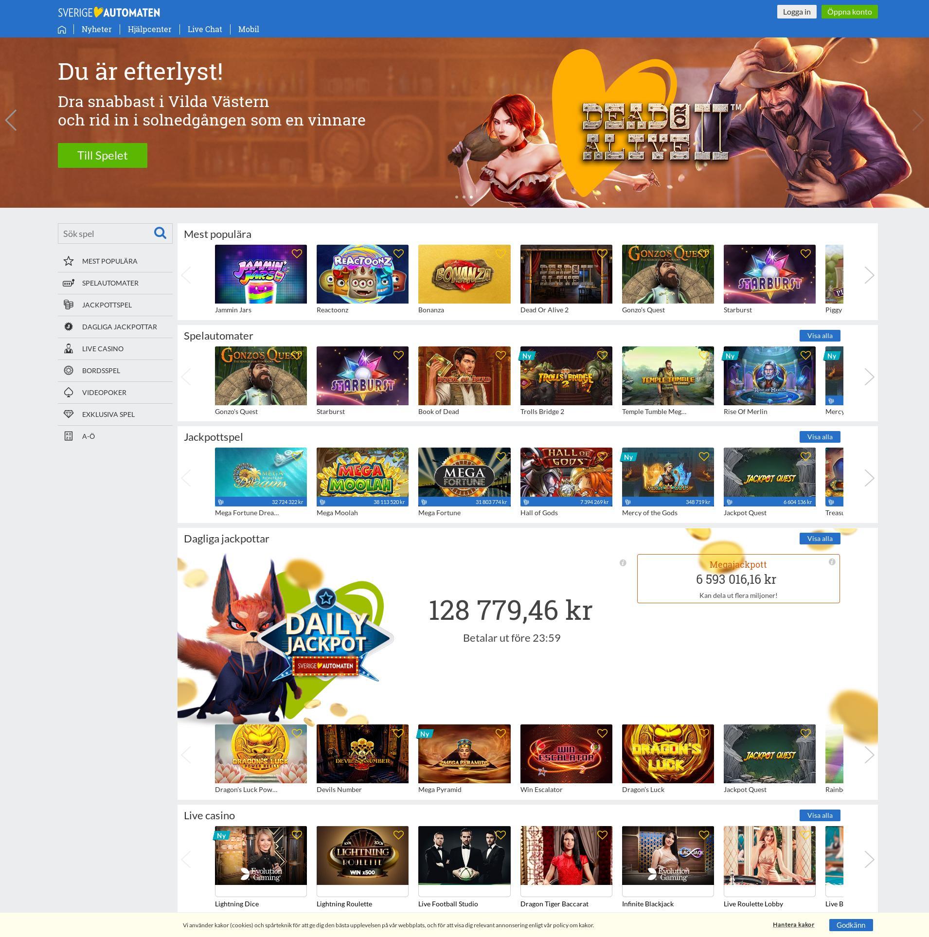 Casino screen Lobby 2019-07-22 for Sweden