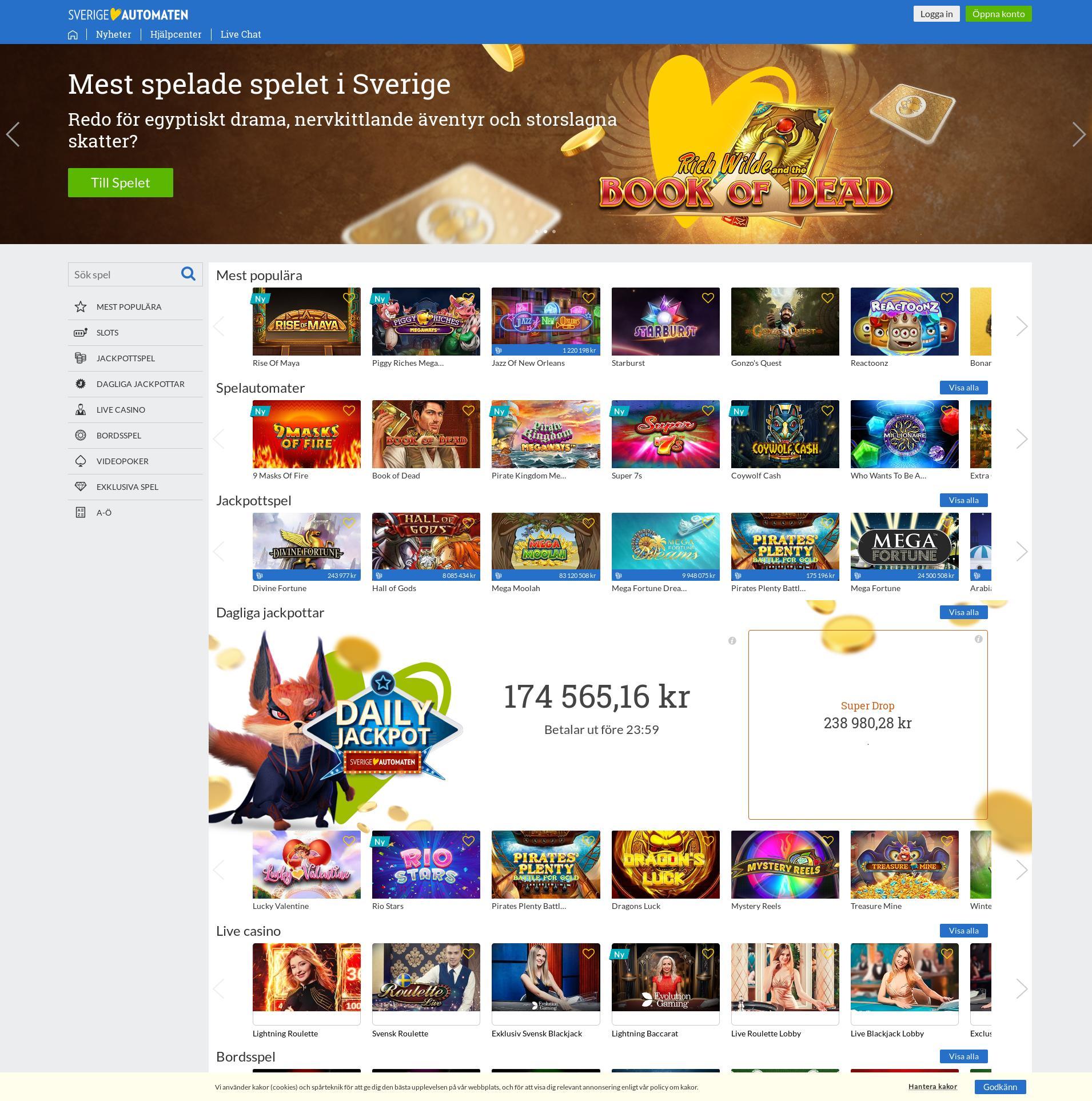 Casino skärm Lobby 2020-02-18 för Sverige