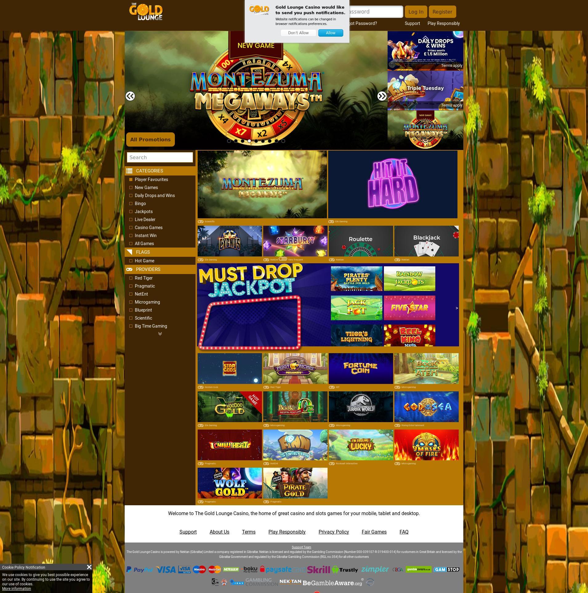 Casino screen Lobby 2020-01-27 for United Kingdom