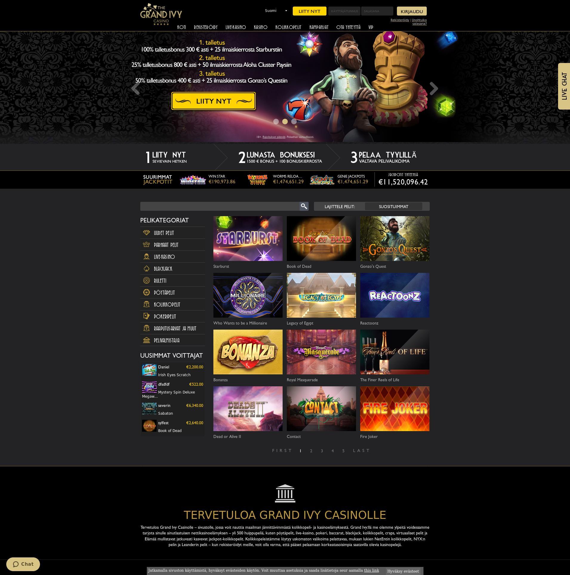 Casino screen Lobby 2019-07-15 for Finland