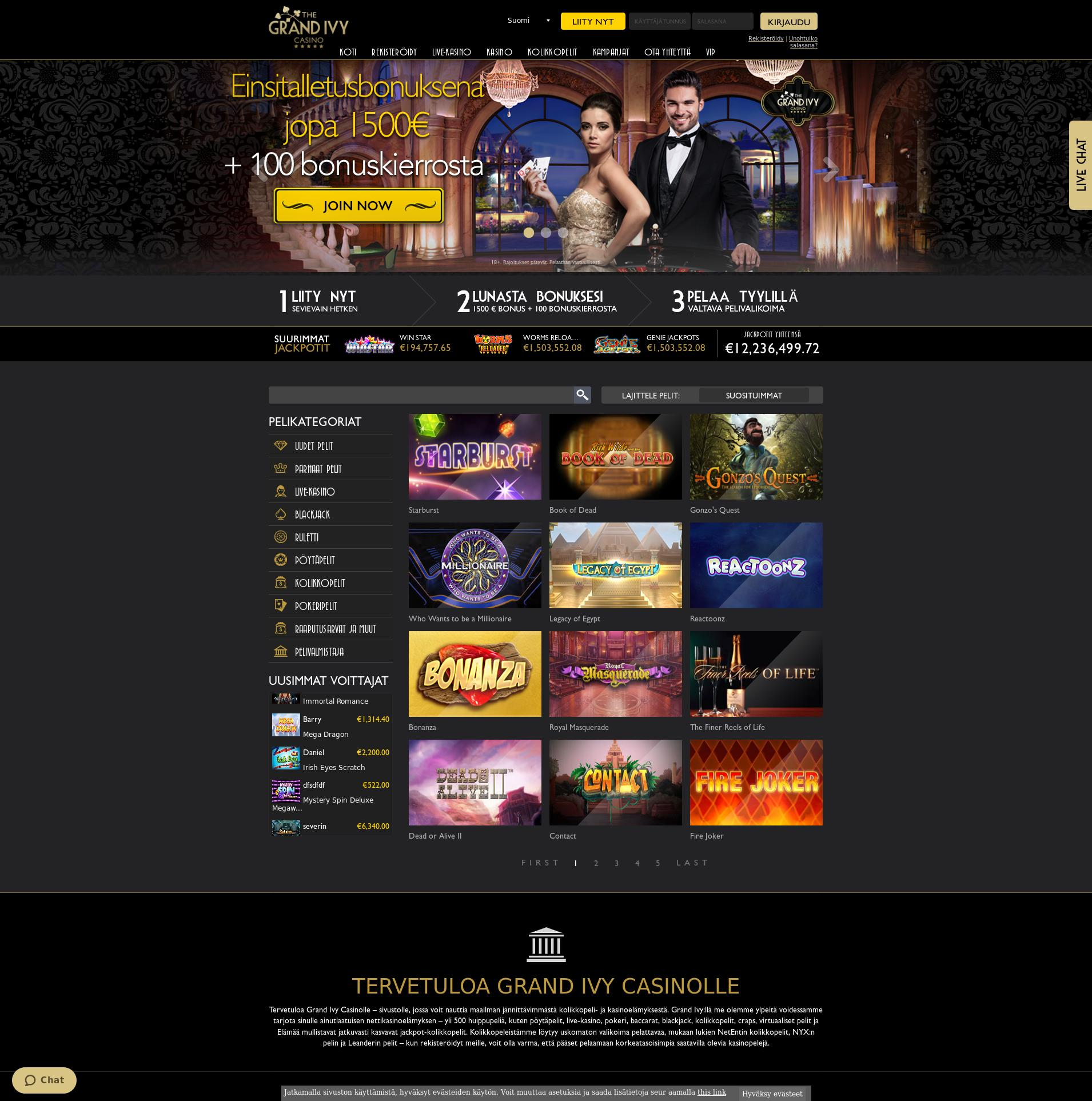 Casino screen Lobby 2019-09-20 for Finland