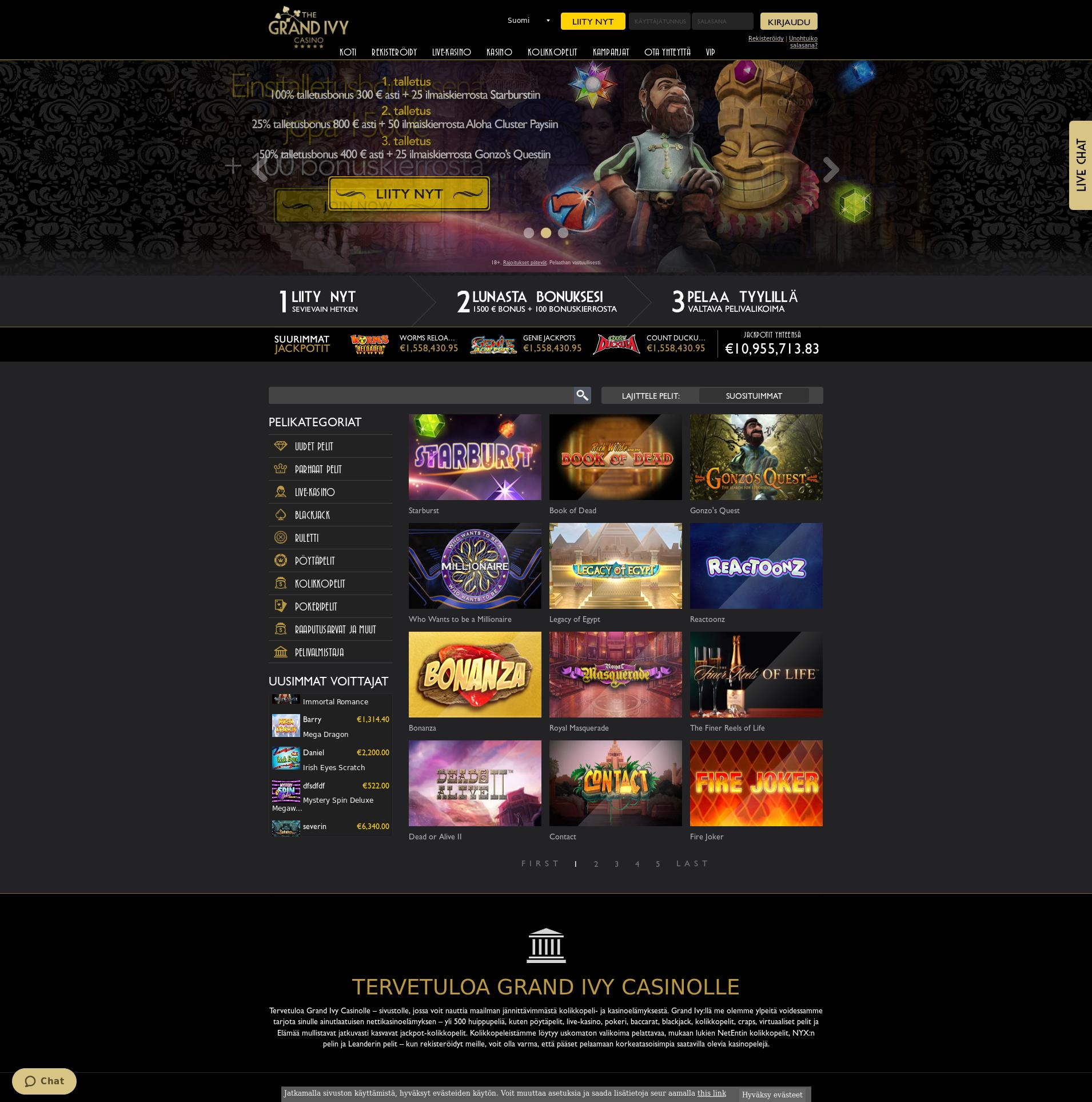 Casino screen Lobby 2019-10-20 for Finland