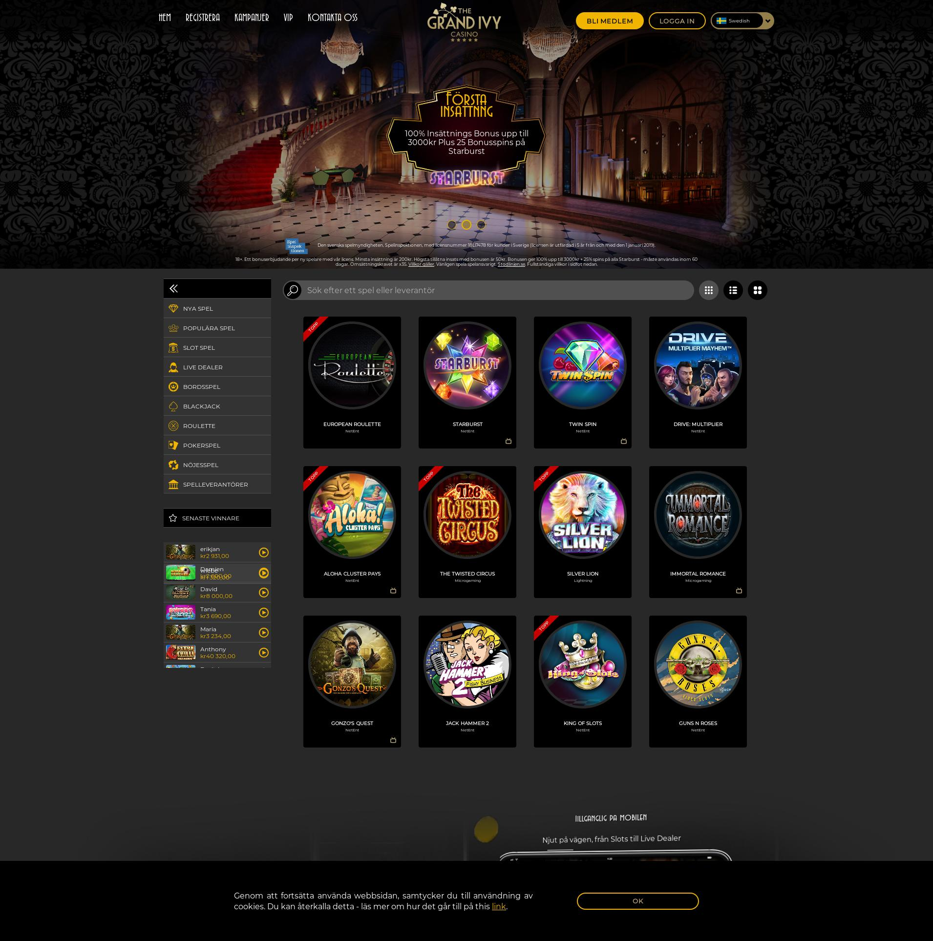 Casino screen Lobby 2020-05-25 for Sweden