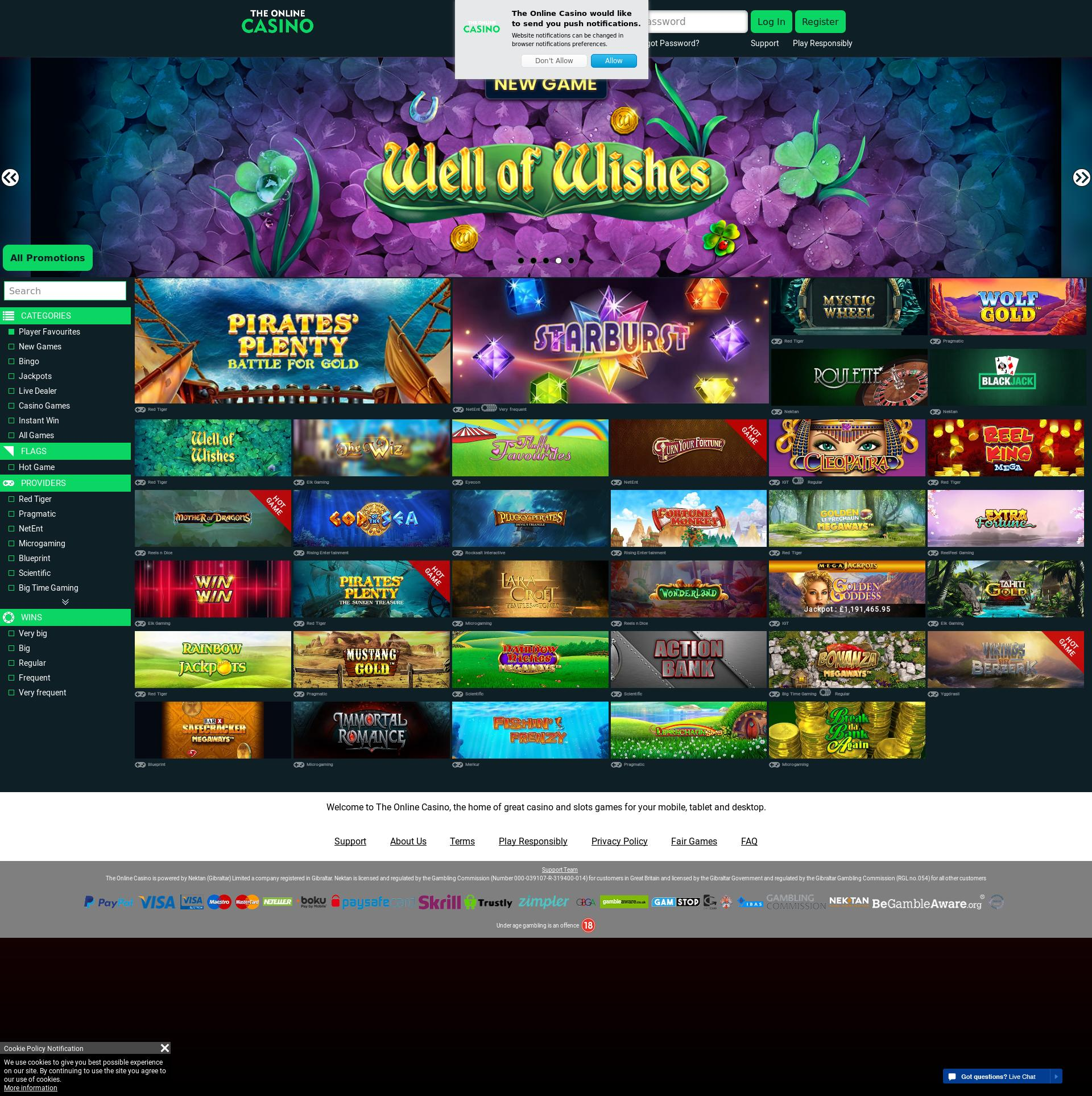 Casino screen Lobby 2019-09-15 for United Kingdom