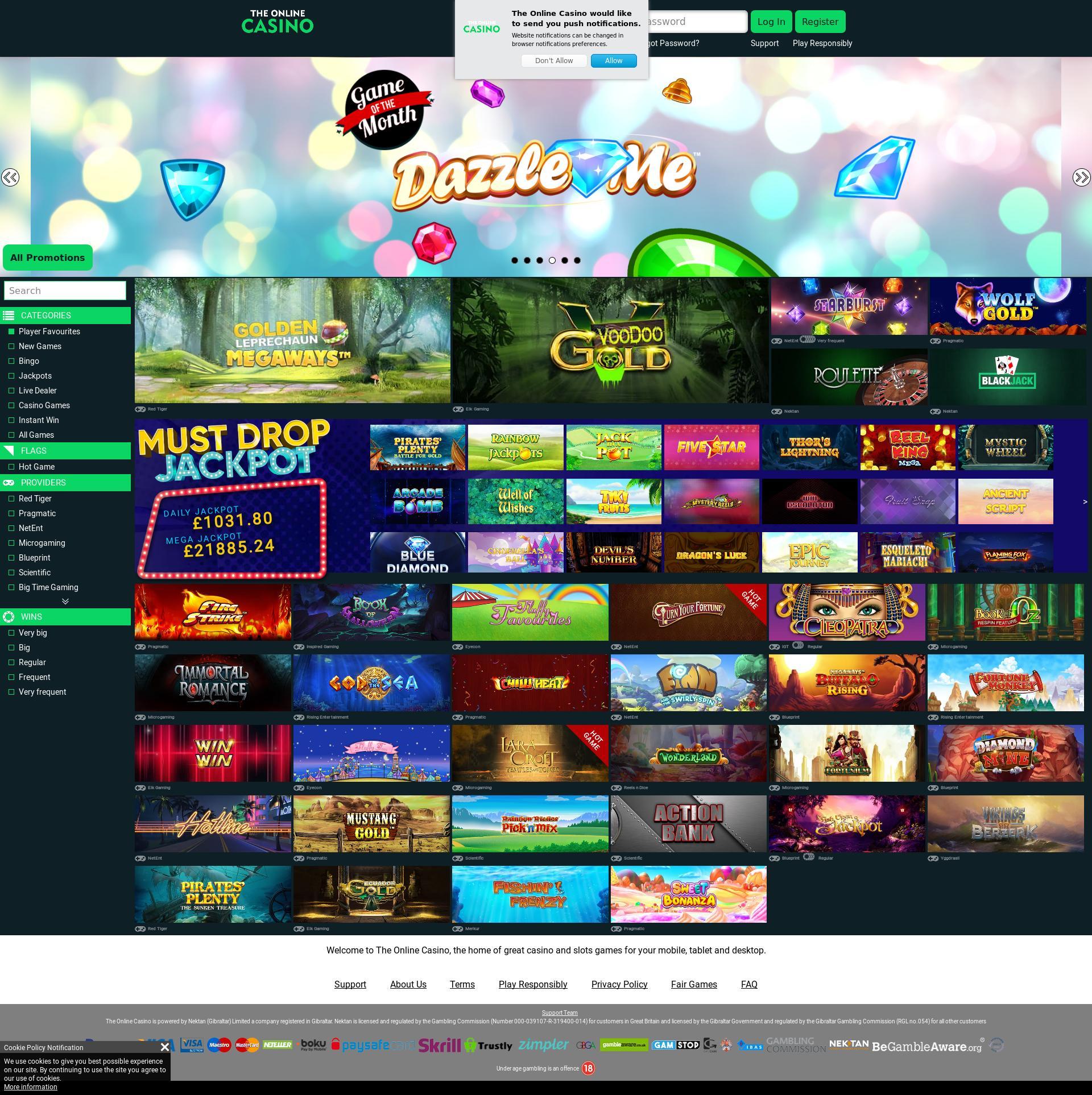 Casino screen Lobby 2019-10-16 for United Kingdom