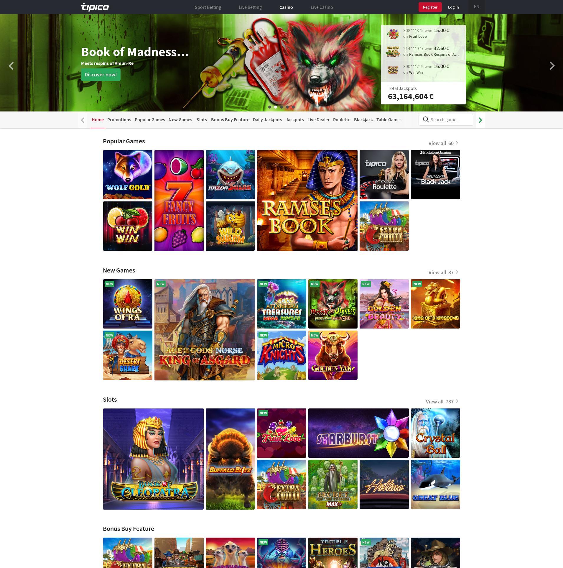 Casino scherm Lobby 2020-02-27 voor Nederland