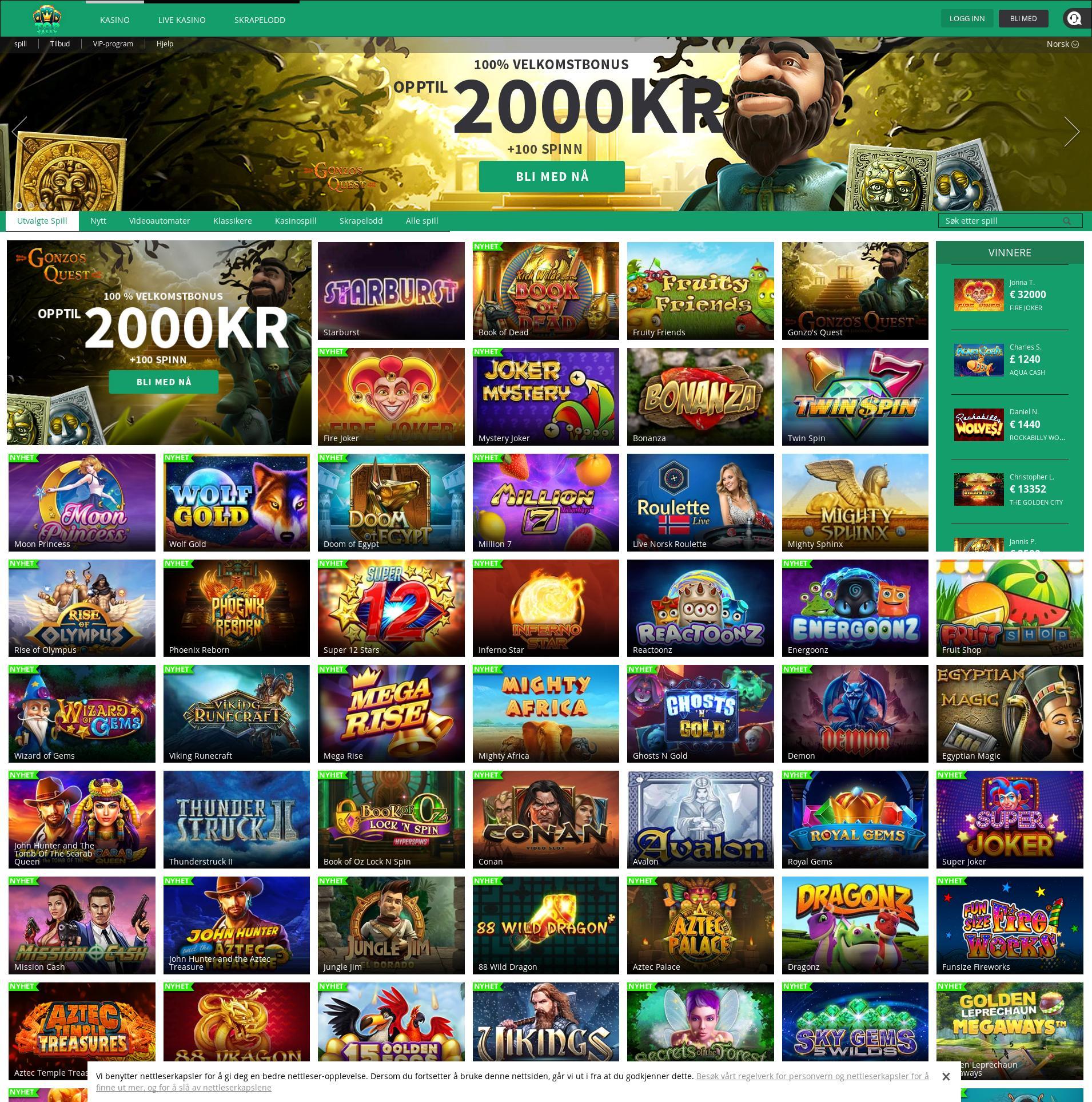 Casino skjerm Lobby 2019-10-16 til Norge