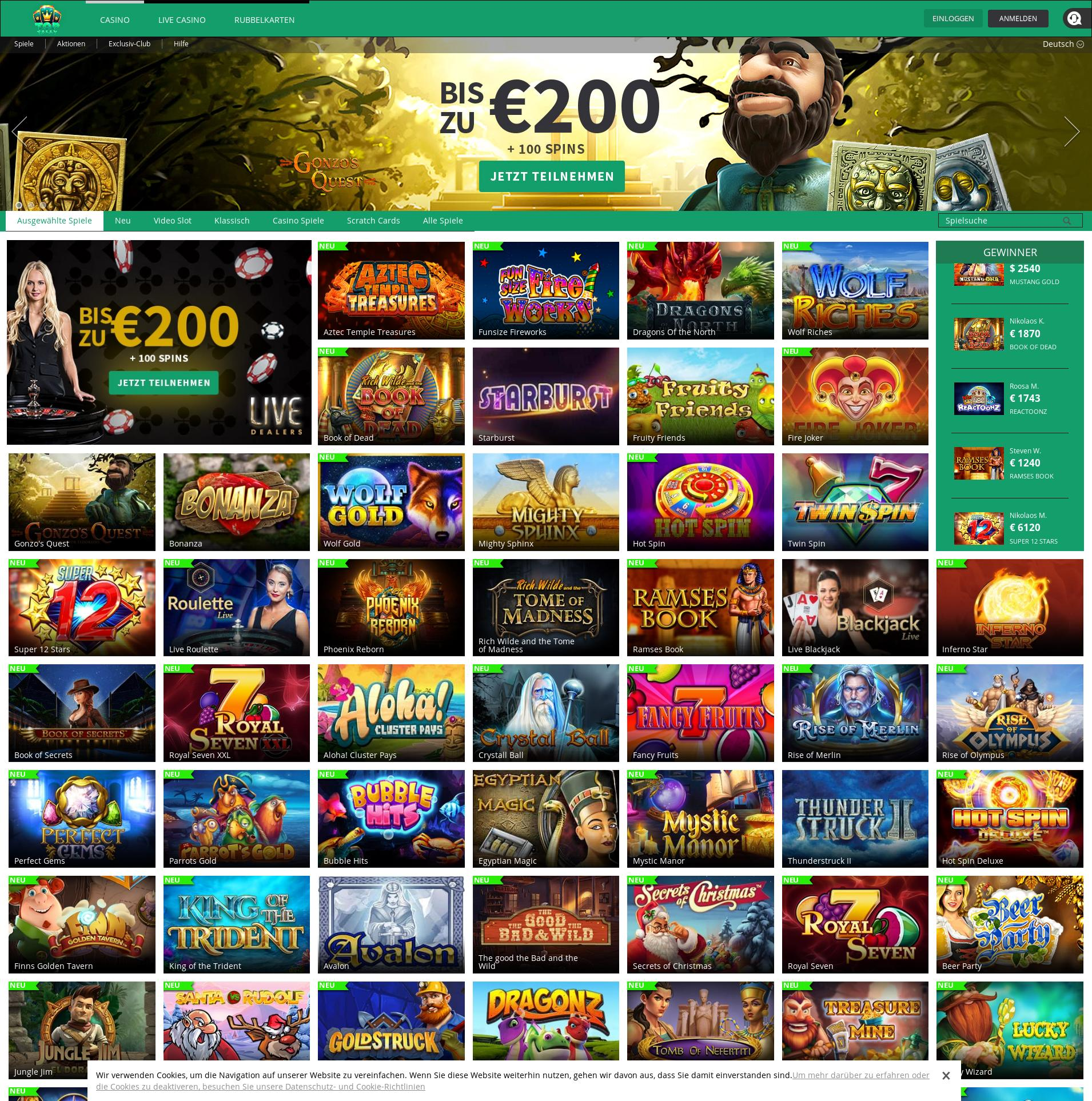 Casino screen Lobby 2019-12-05 for Germany