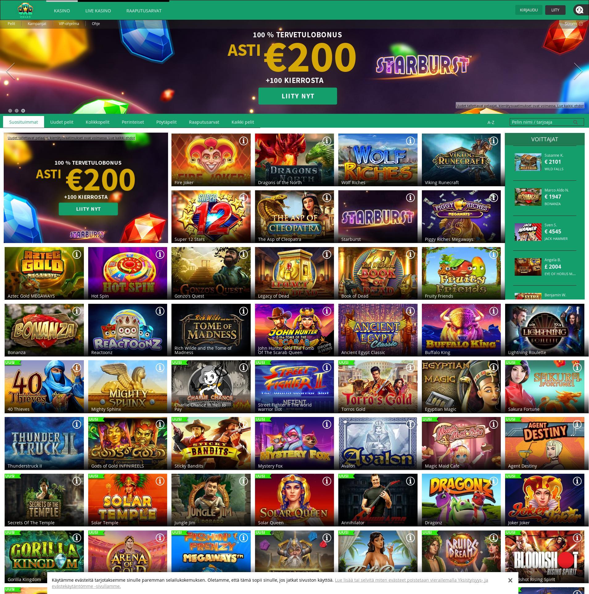 Casino screen Lobby 2020-05-28 for Finland