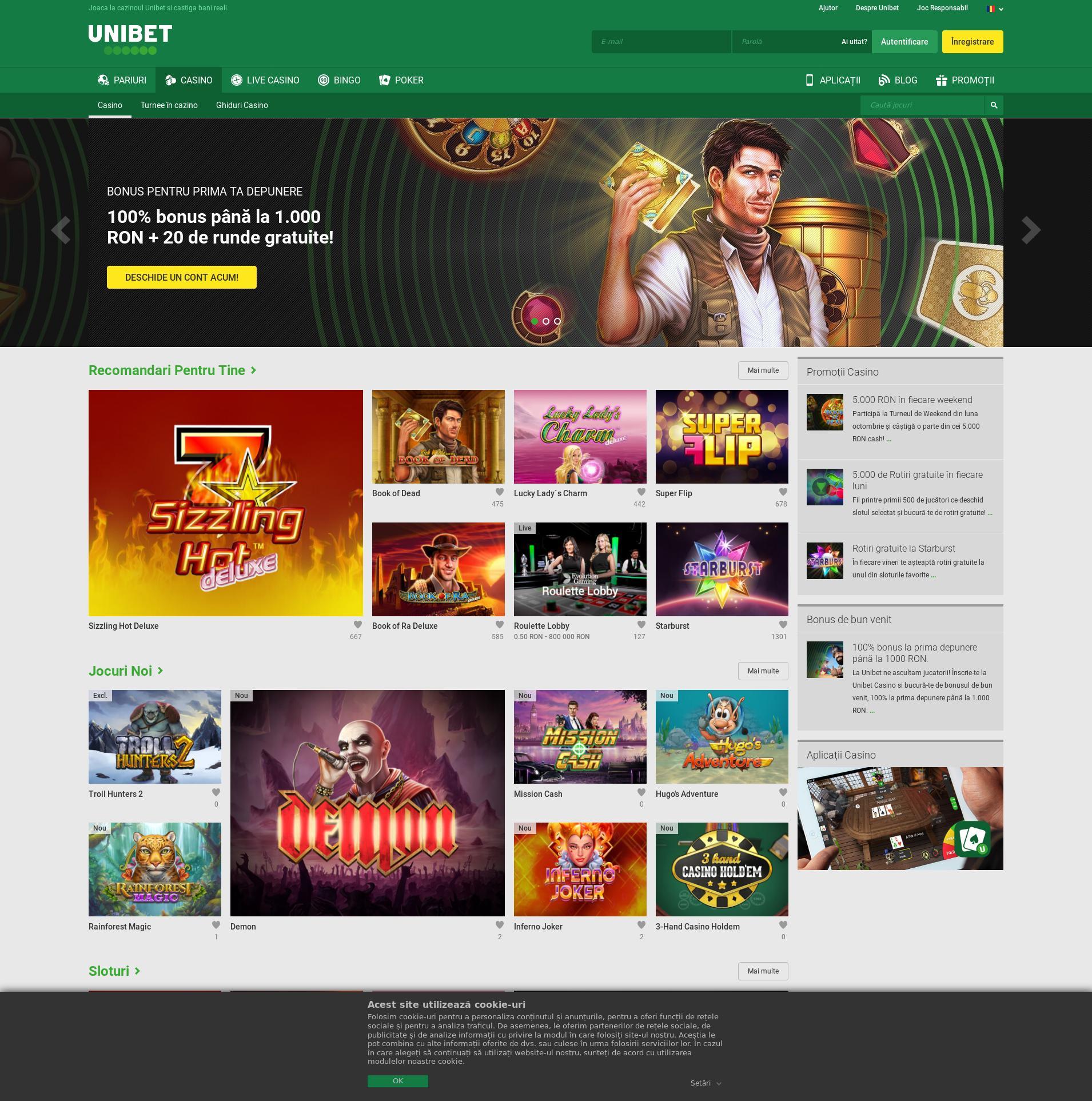 Casino screen Lobby 2019-10-18 pentru România
