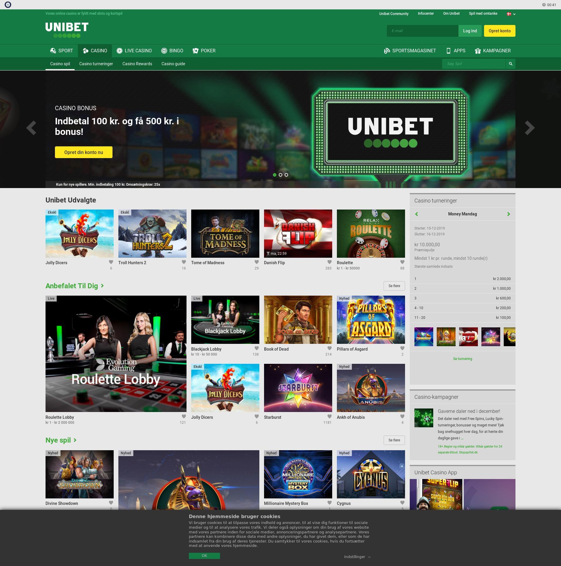 Casino skærm Lobby 2019-12-15 til Danmark