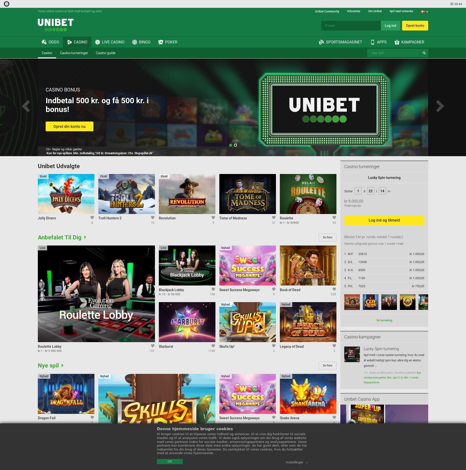 Casino Bildschirm Lobby 2020-01-20 zum Deutschland