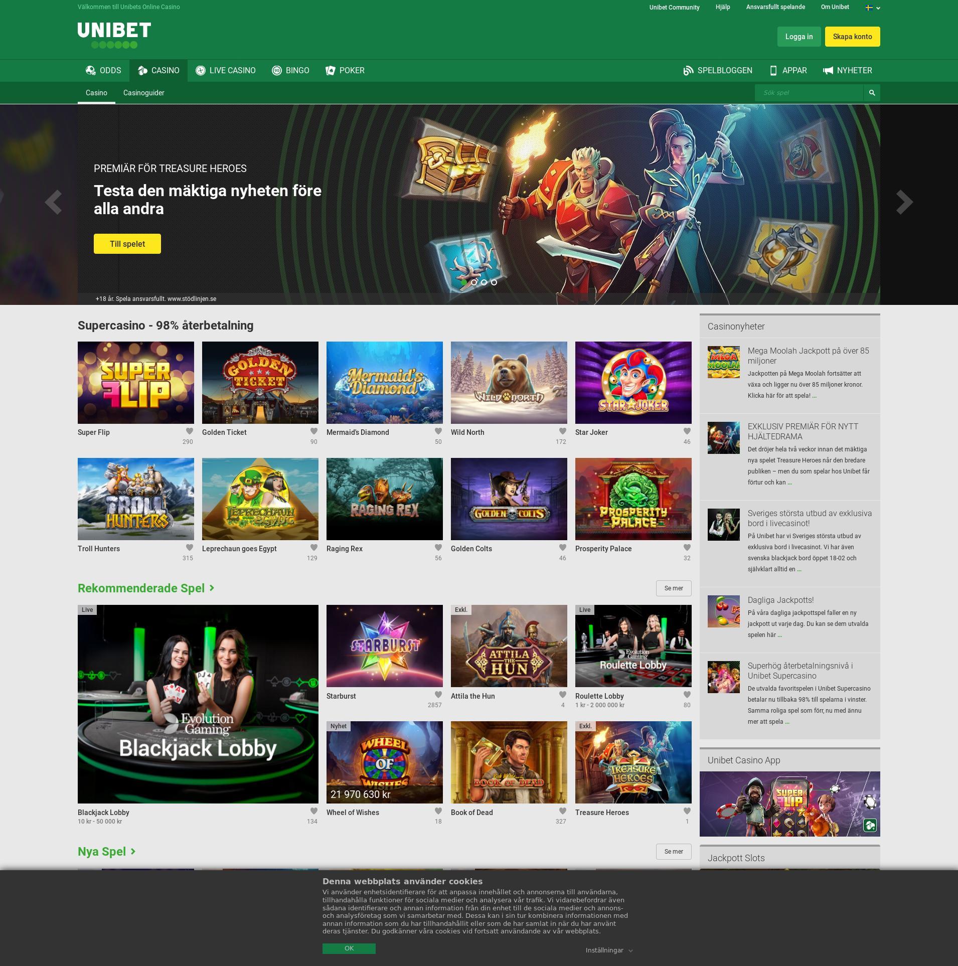 Casino skärm Lobby 2020-02-22 för Sverige