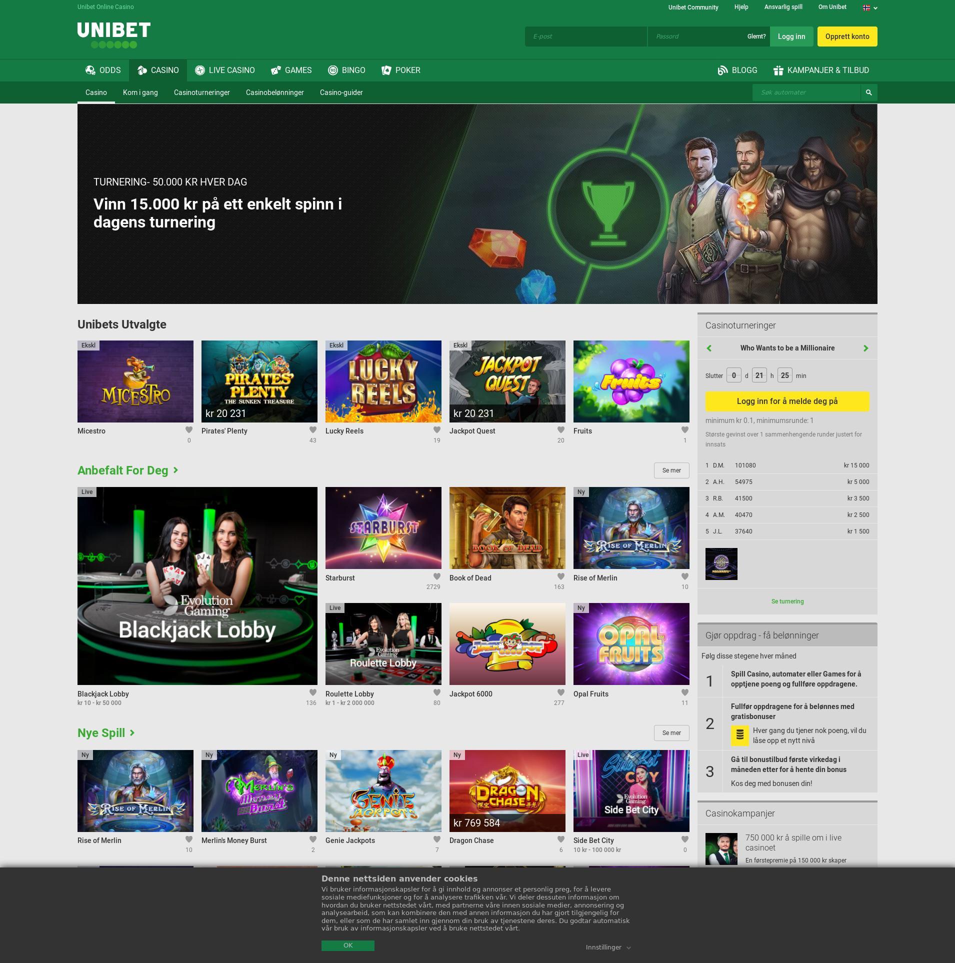 Casino screen Lobby 2019-06-24 for Norway