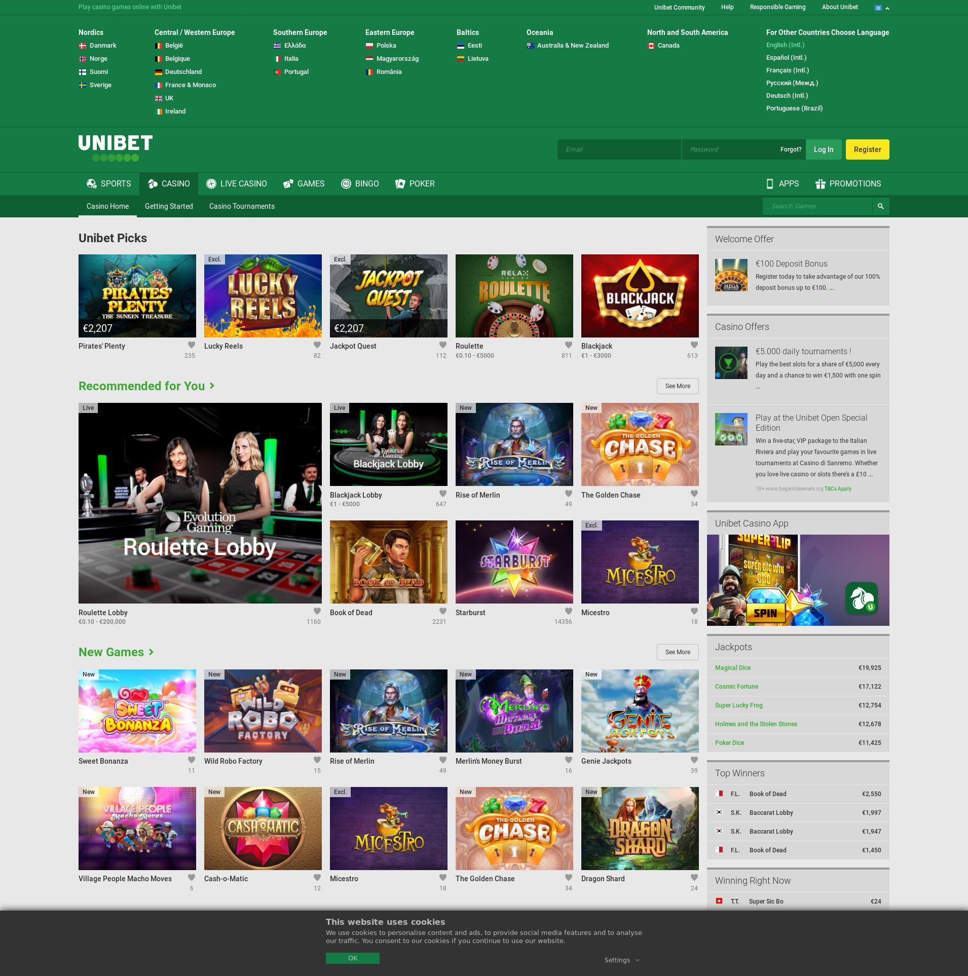 Casino screen Lobby 2019-06-26 for India