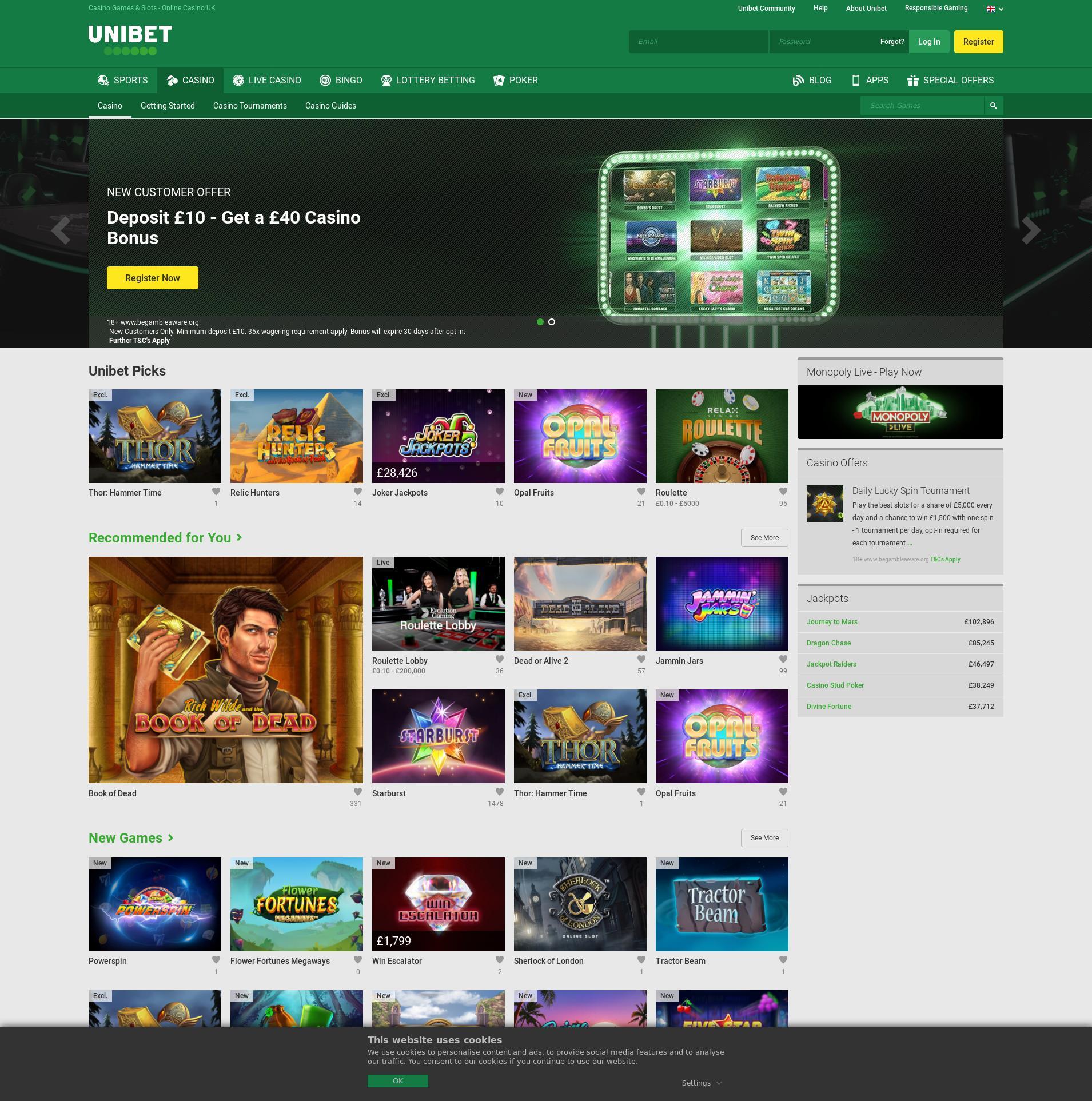 Casino skärm Lobby 2019-07-22 för Storbritannien