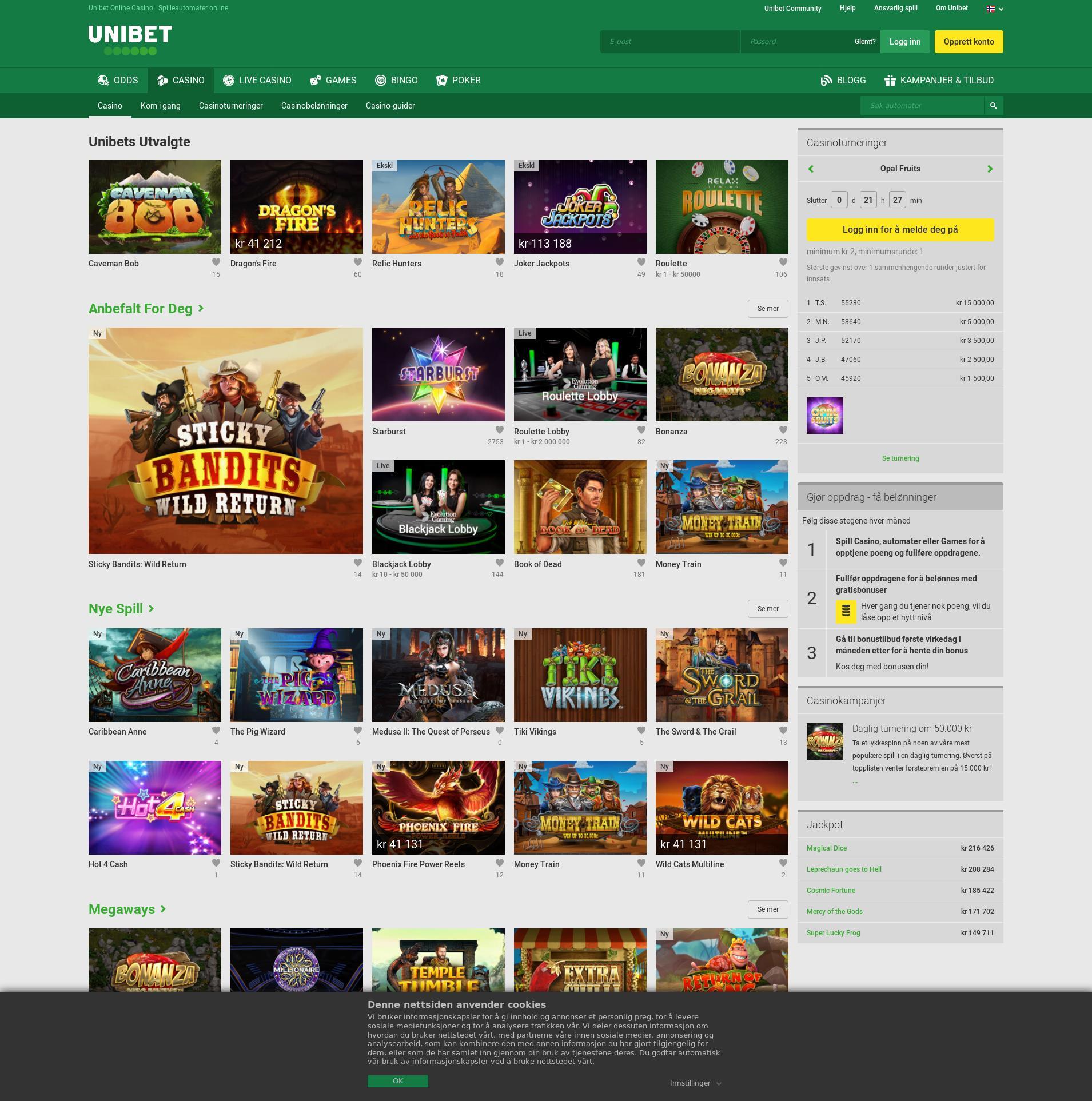 Casino skjerm Lobby 2019-08-20 til Norge