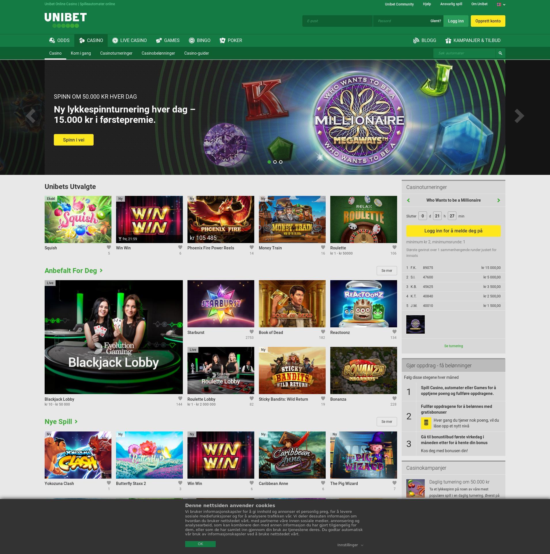 Casino screen Lobby 2019-08-24 for Norway