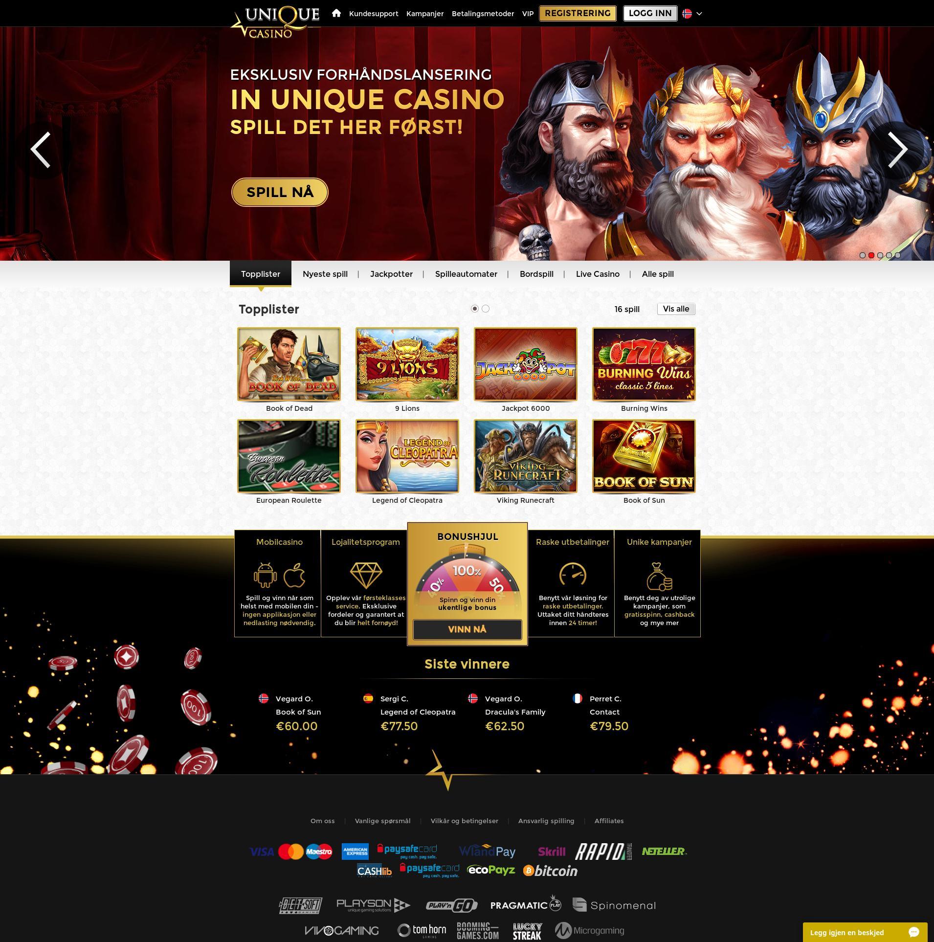 Casino skjerm Lobby 2019-08-16 til Norge