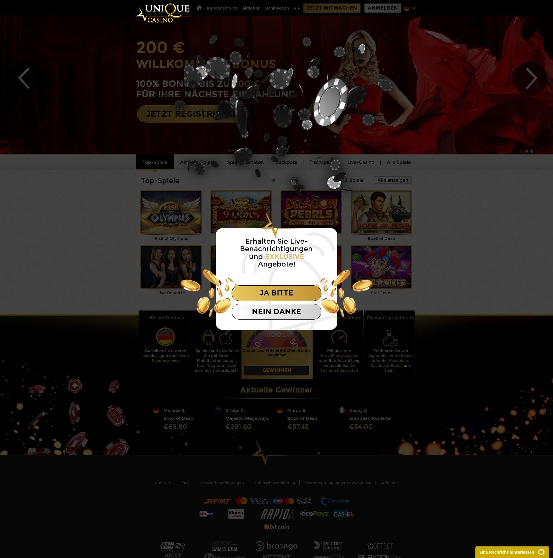 Casino skärm Lobby 2020-05-28 för Tyskland