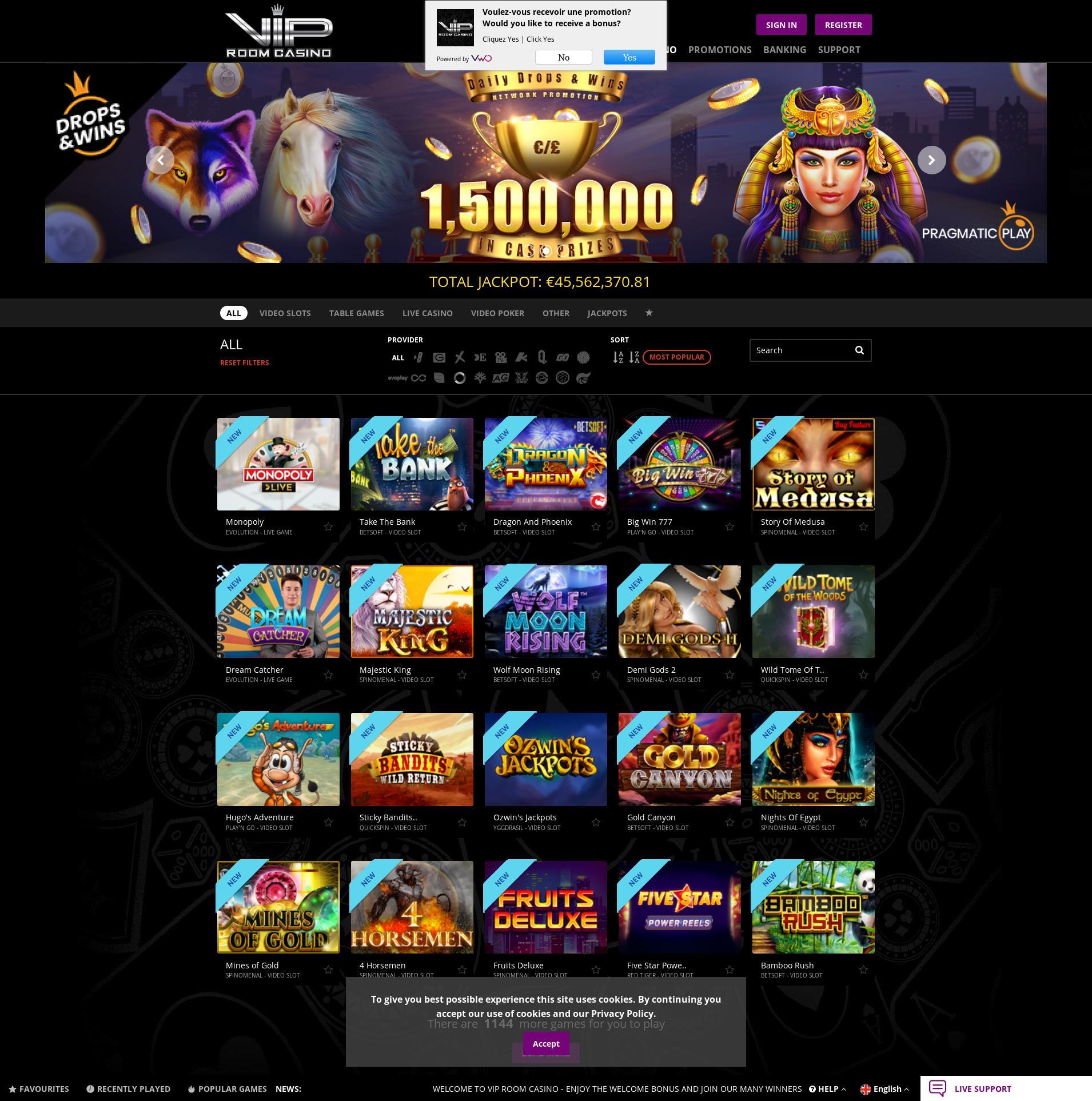 Écran de casino Lobby 2020-01-22 pour France