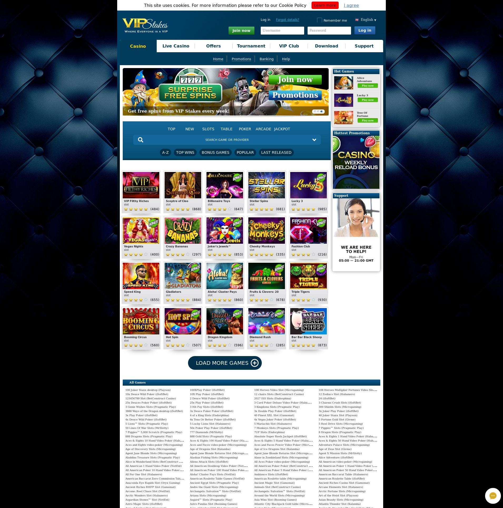 Casino screen Lobby 2019-08-25 for Germany