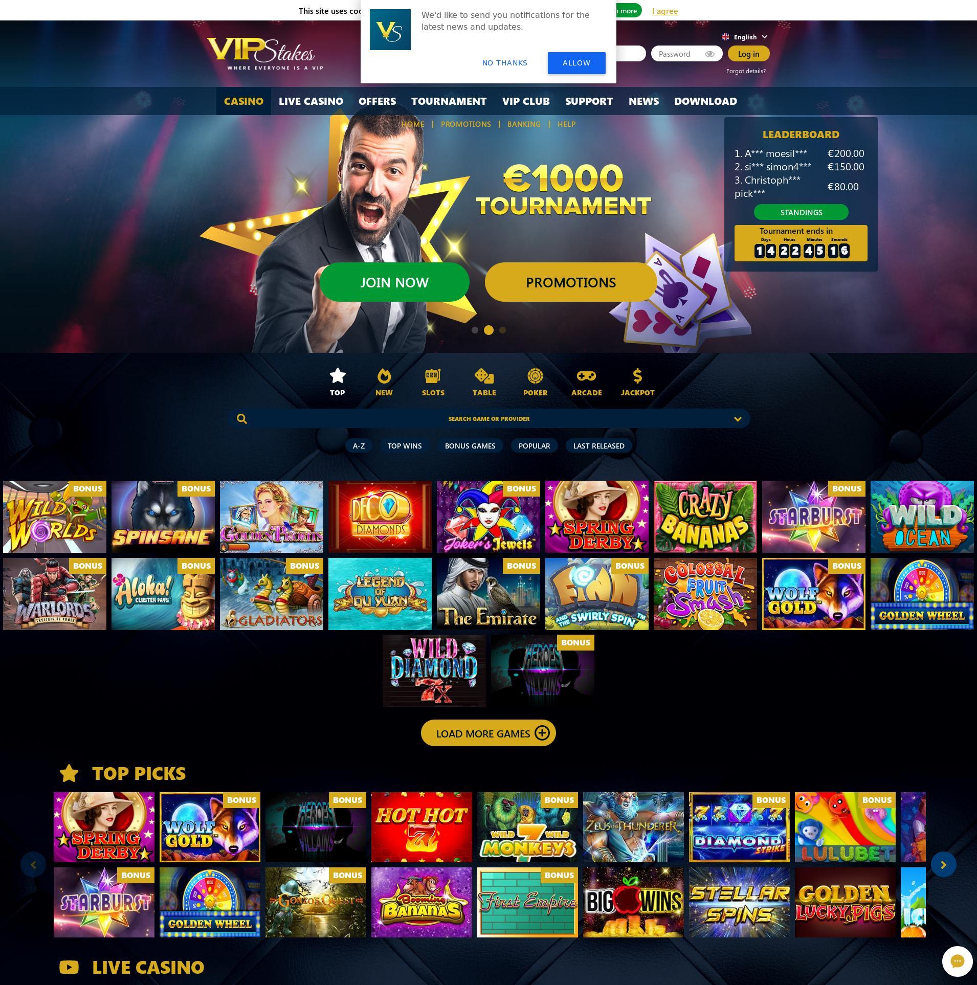 Casino skjerm Lobby 2019-10-17 til Norge