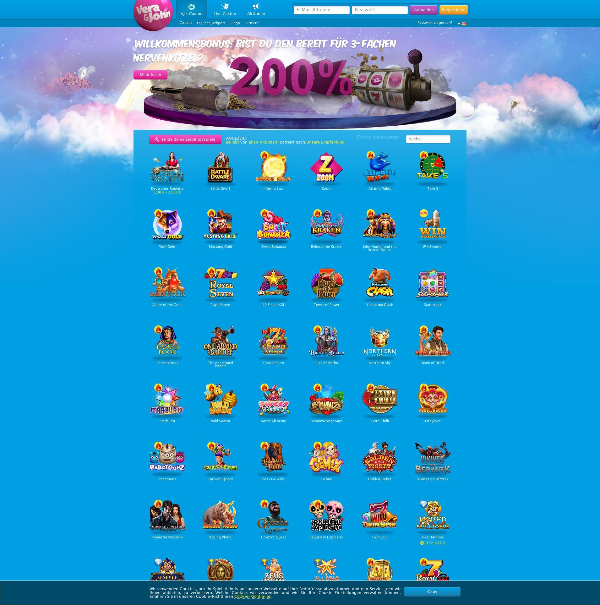 Casino screen Lobby 2020-06-04 for Germany