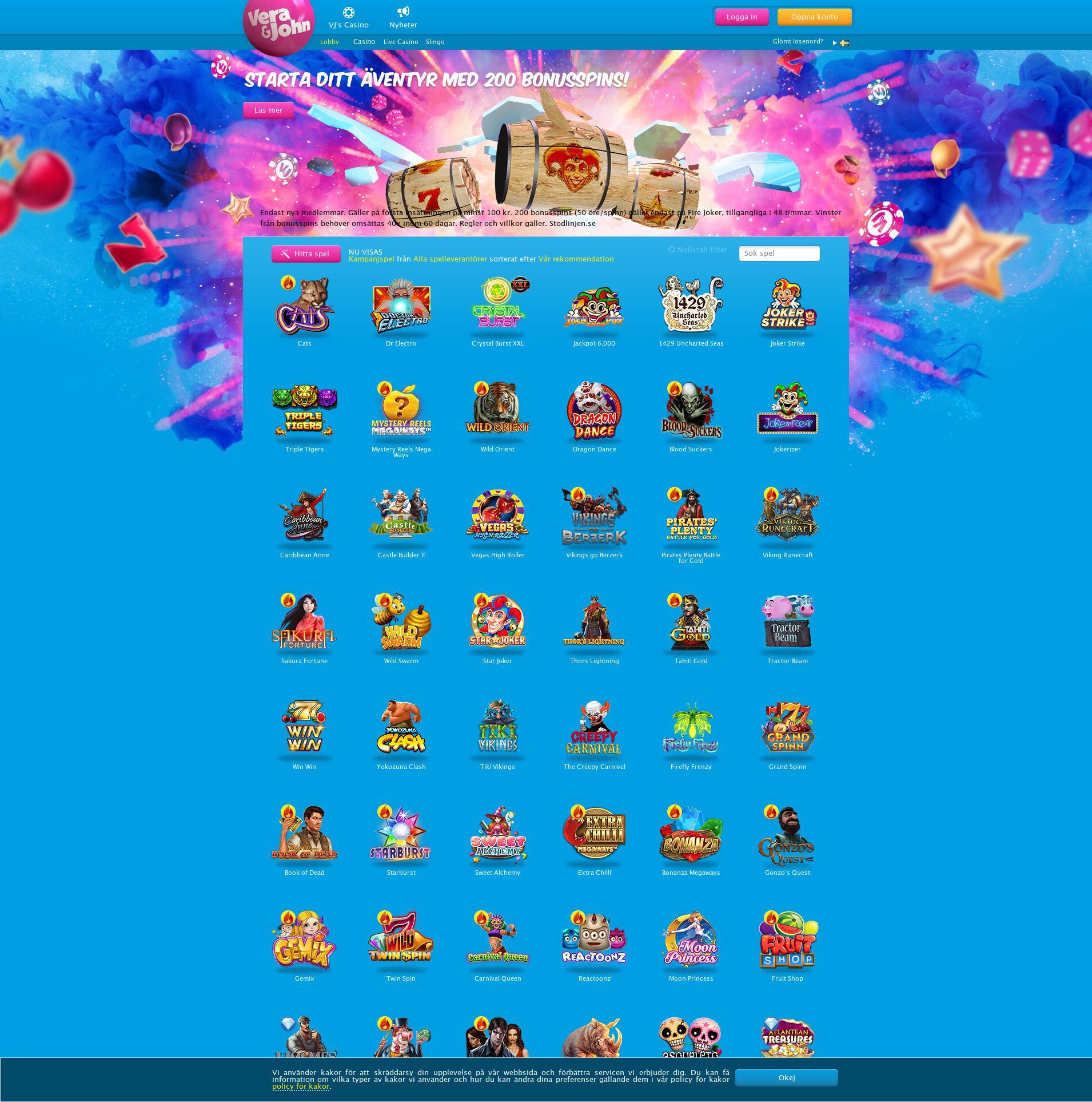 Casino skärm Lobby 2020-06-05 för Sverige