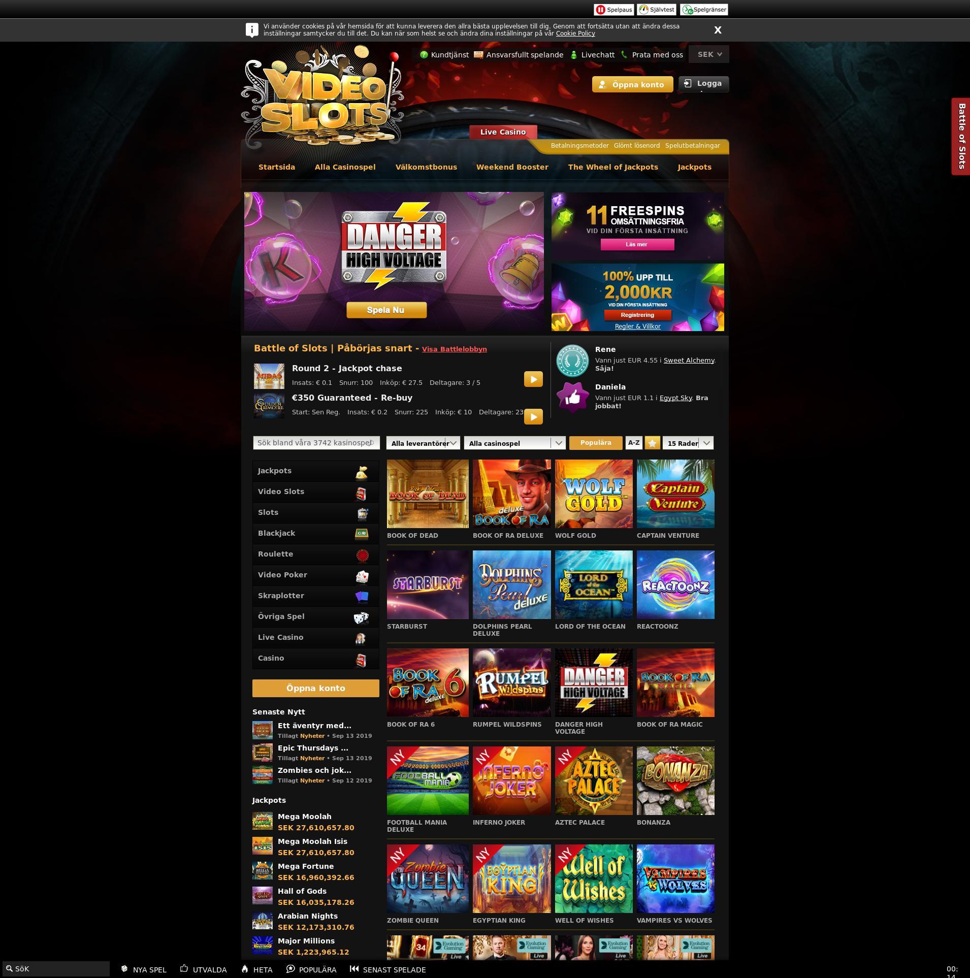 Casino skärm Lobby 2019-09-15 för Sverige