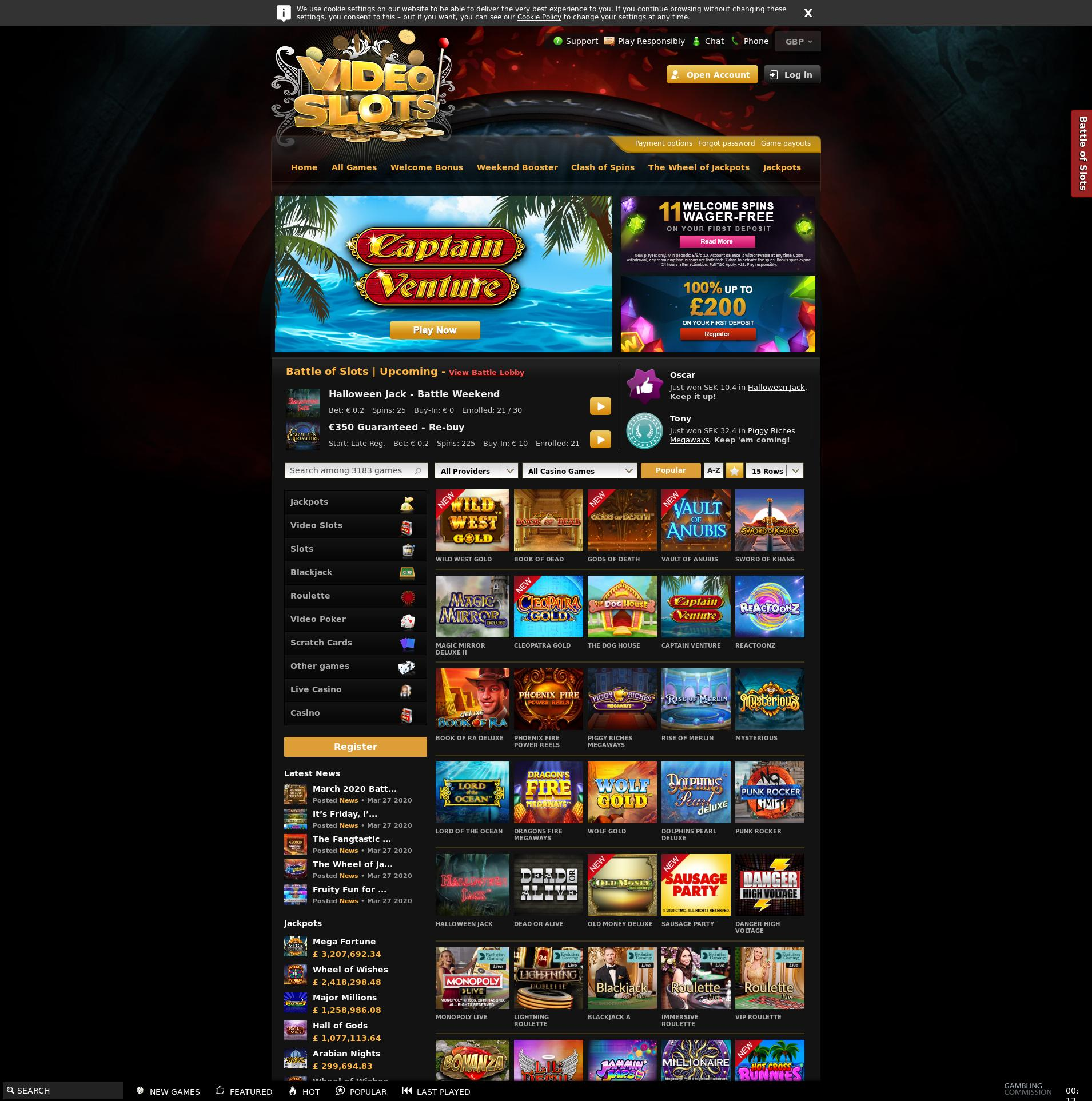 Casino screen Lobby 2020-03-29 for United Kingdom