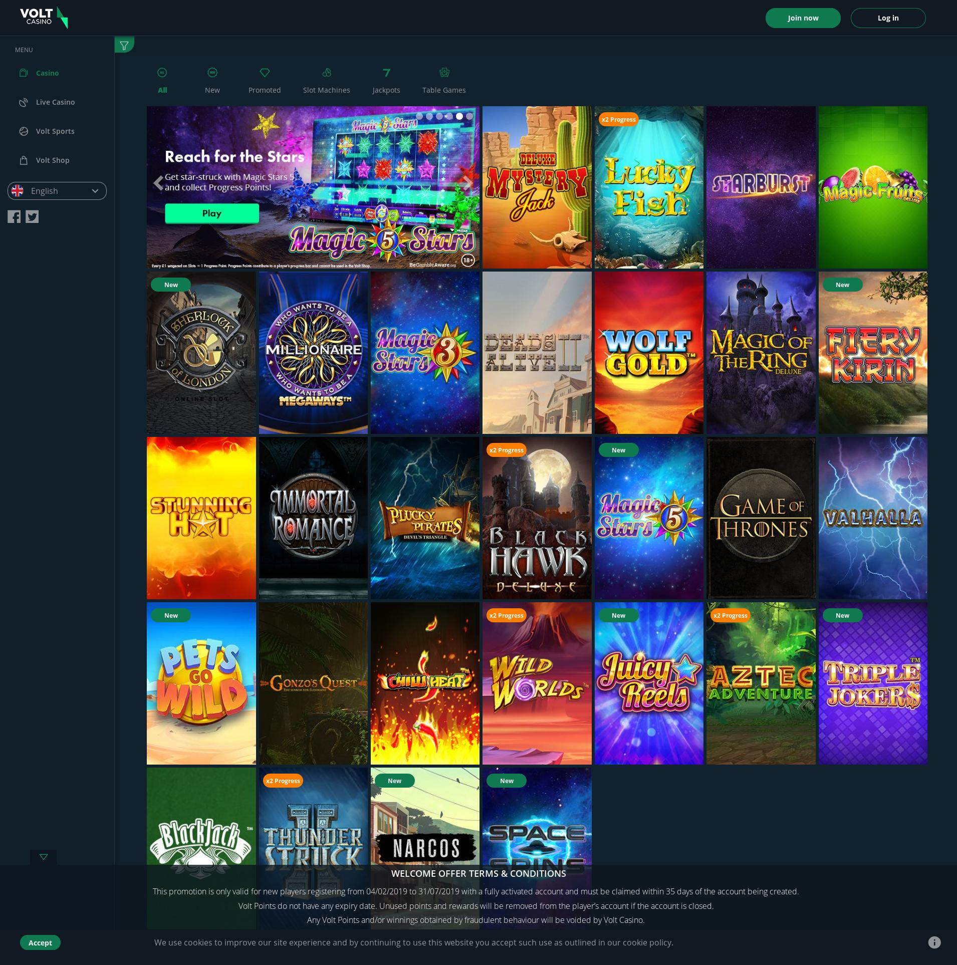 Casino screen Lobby 2019-07-16 for United Kingdom