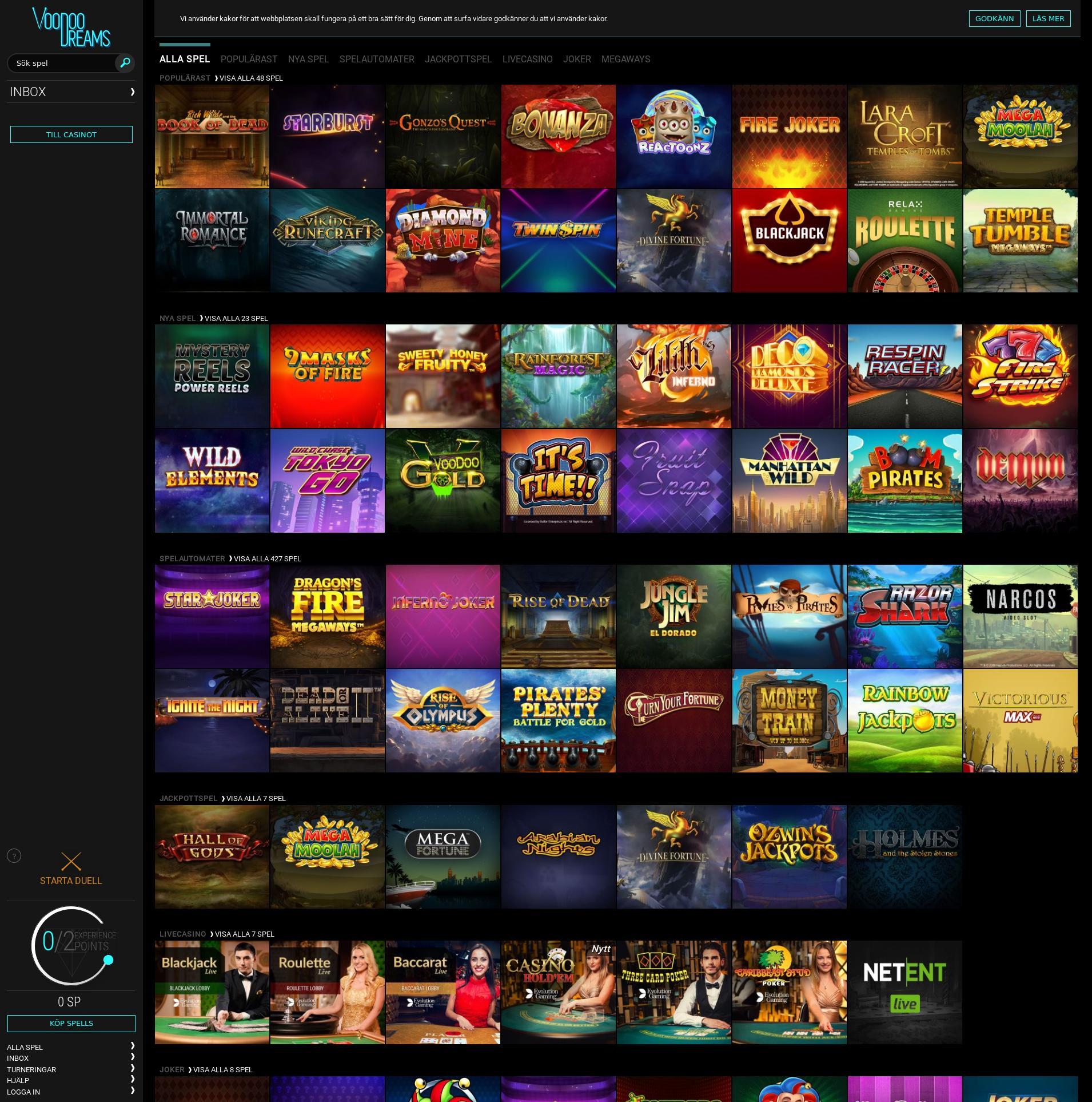 Casino skärm Lobby 2019-10-21 för Sverige