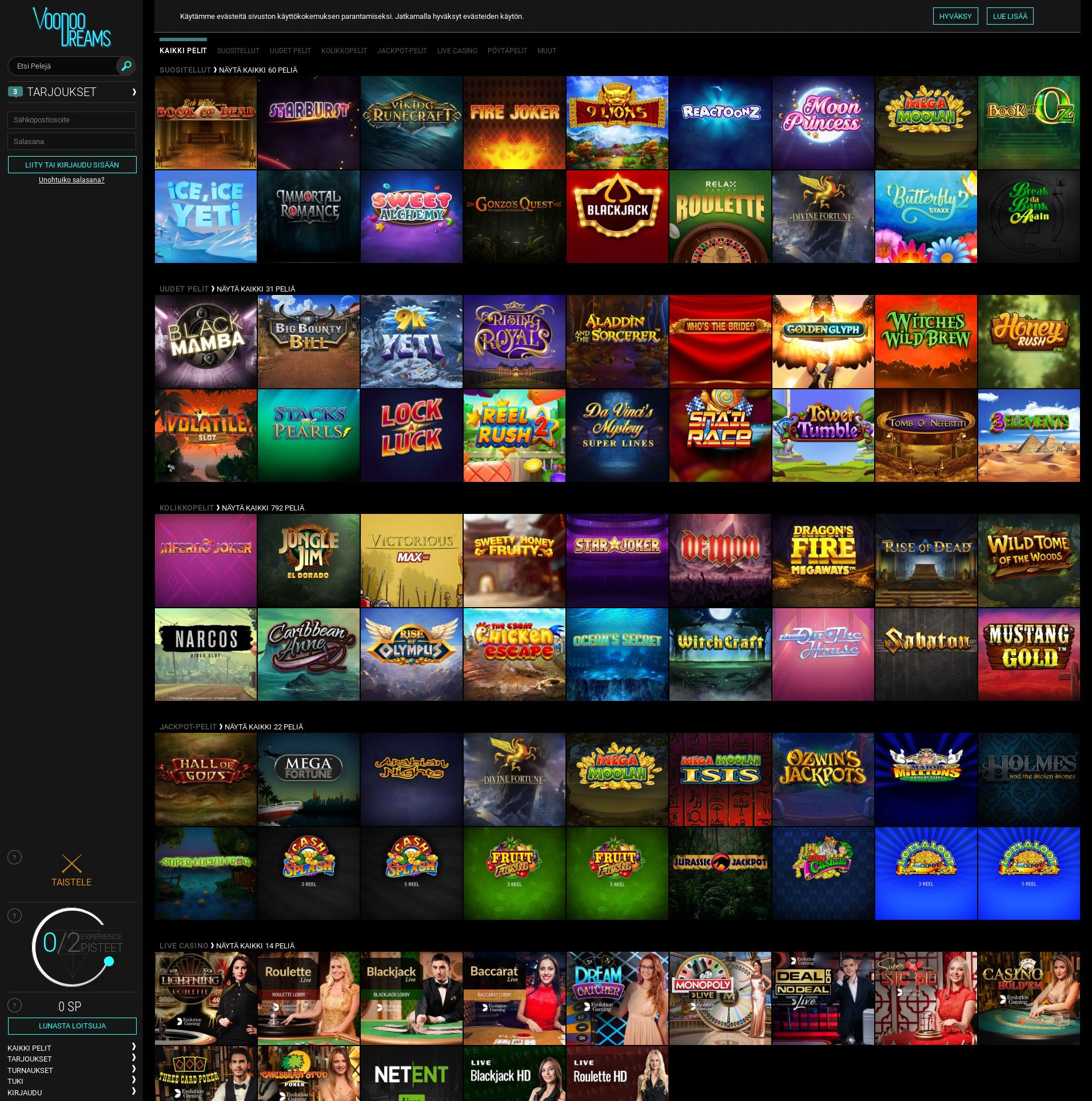 Casino-näyttö Lobby 2019-11-15 varten Suomi