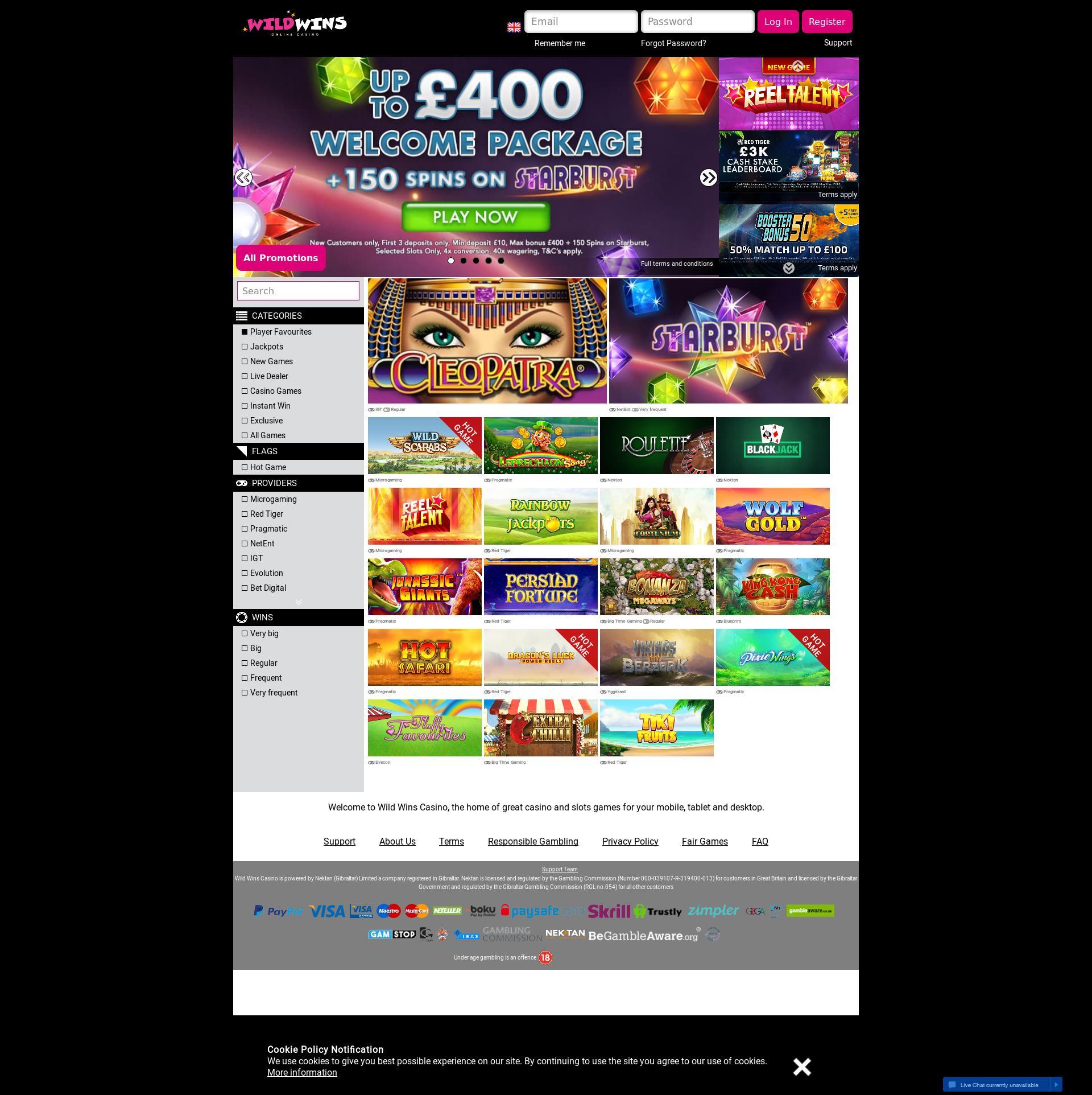 Casino screen Lobby 2018-11-09 for United Kingdom