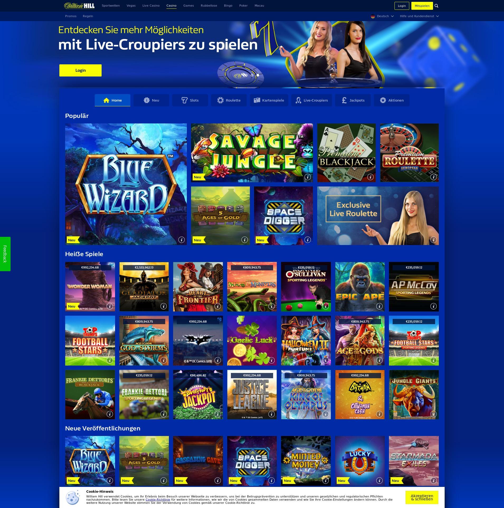 Casino screen Lobby 2019-08-18 for Germany