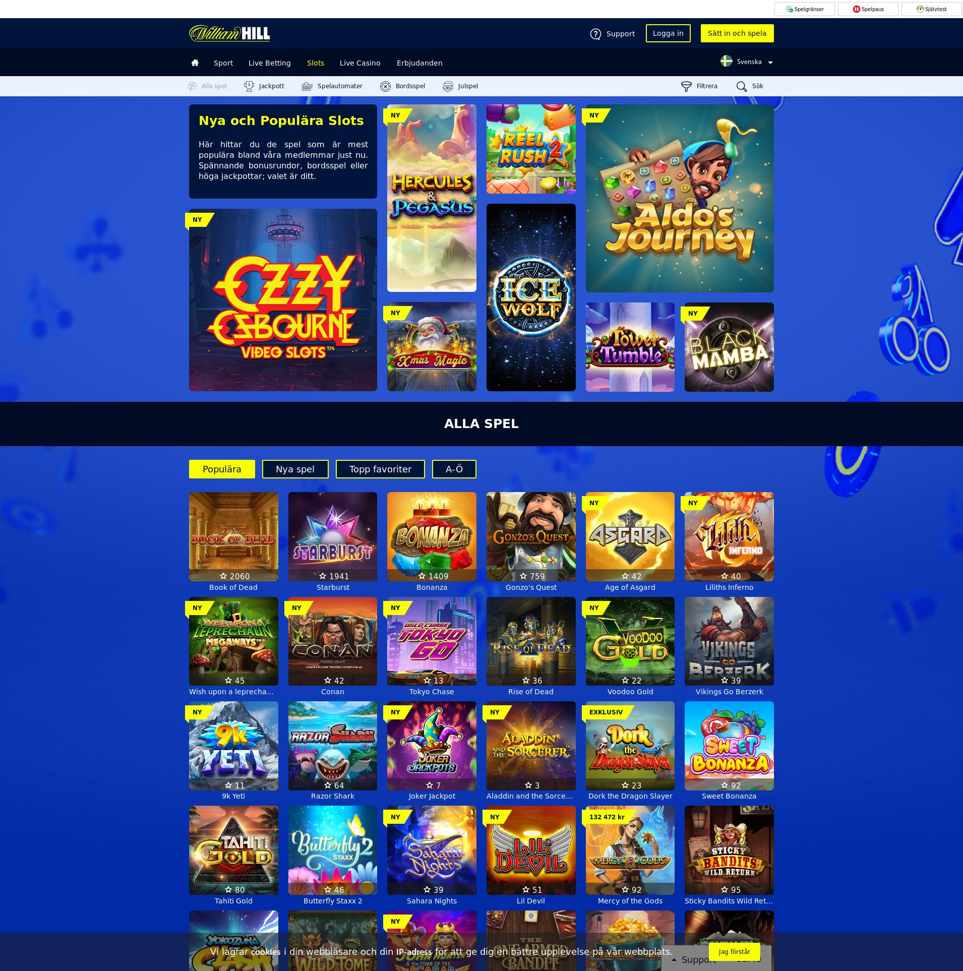 Casino screen Lobby 2019-12-12 for Sweden