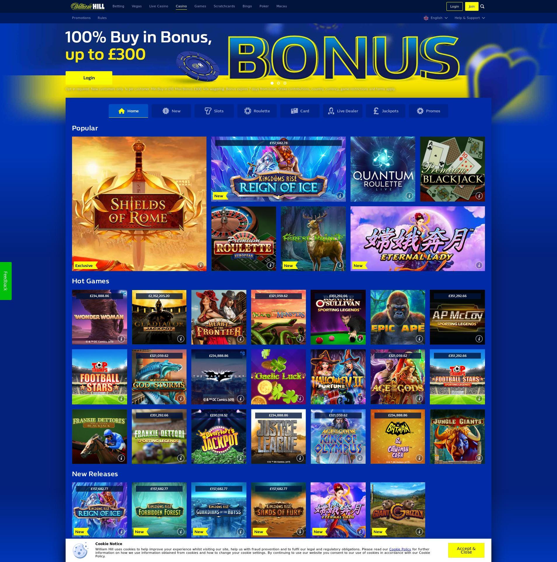 Casino screen Lobby 2019-12-15 for United Kingdom
