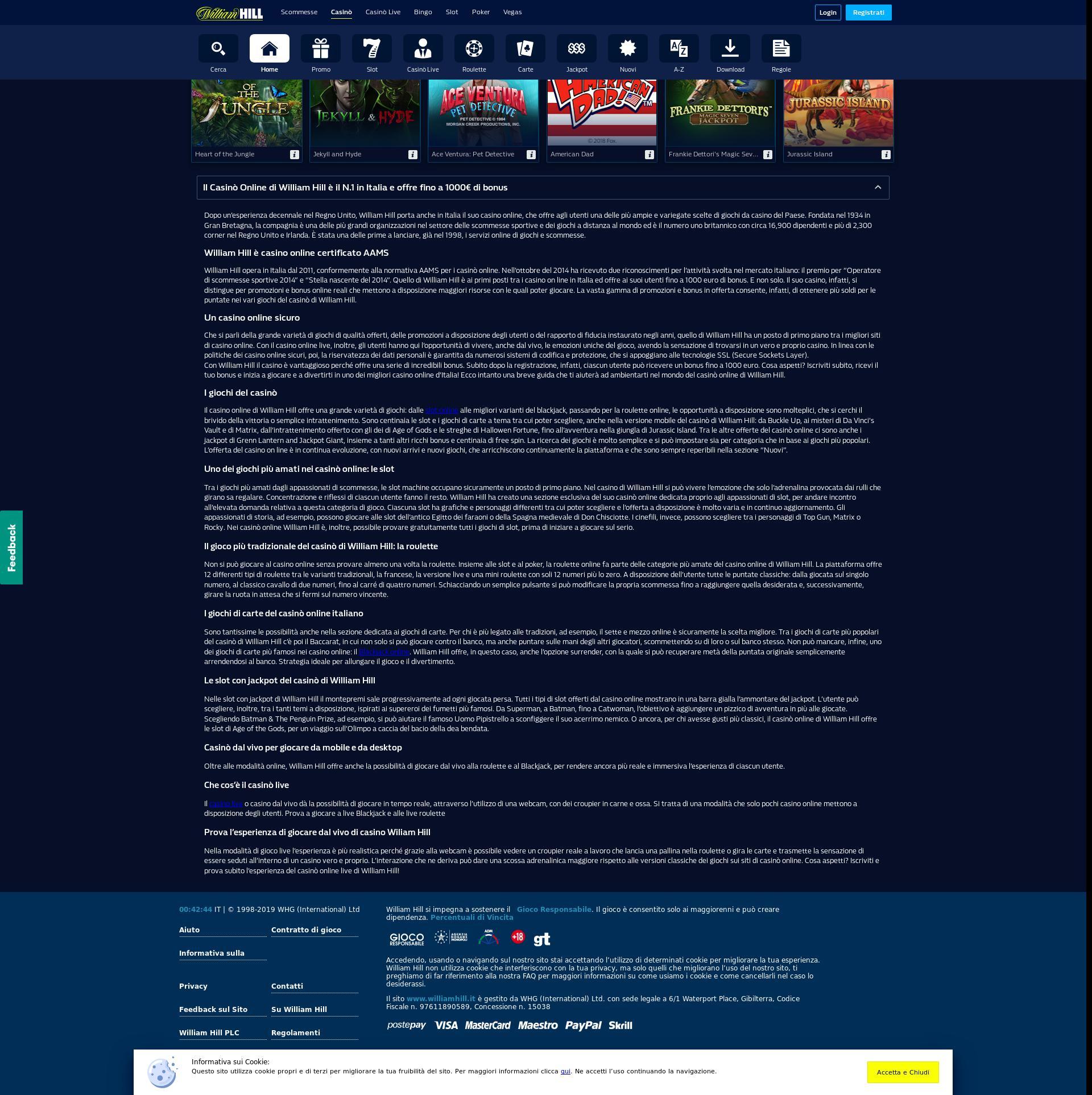 Casino screen Lobby 2020-01-18 for Italy