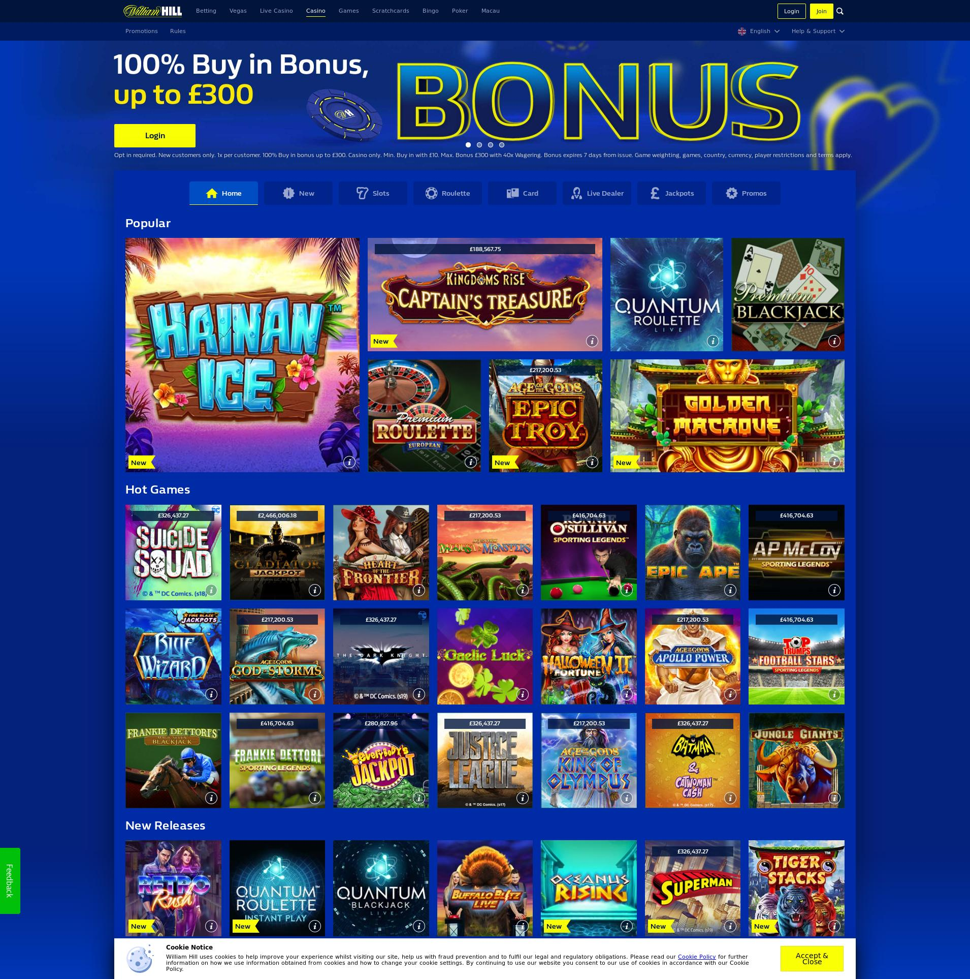 Casino screen Lobby 2020-02-18 for United Kingdom