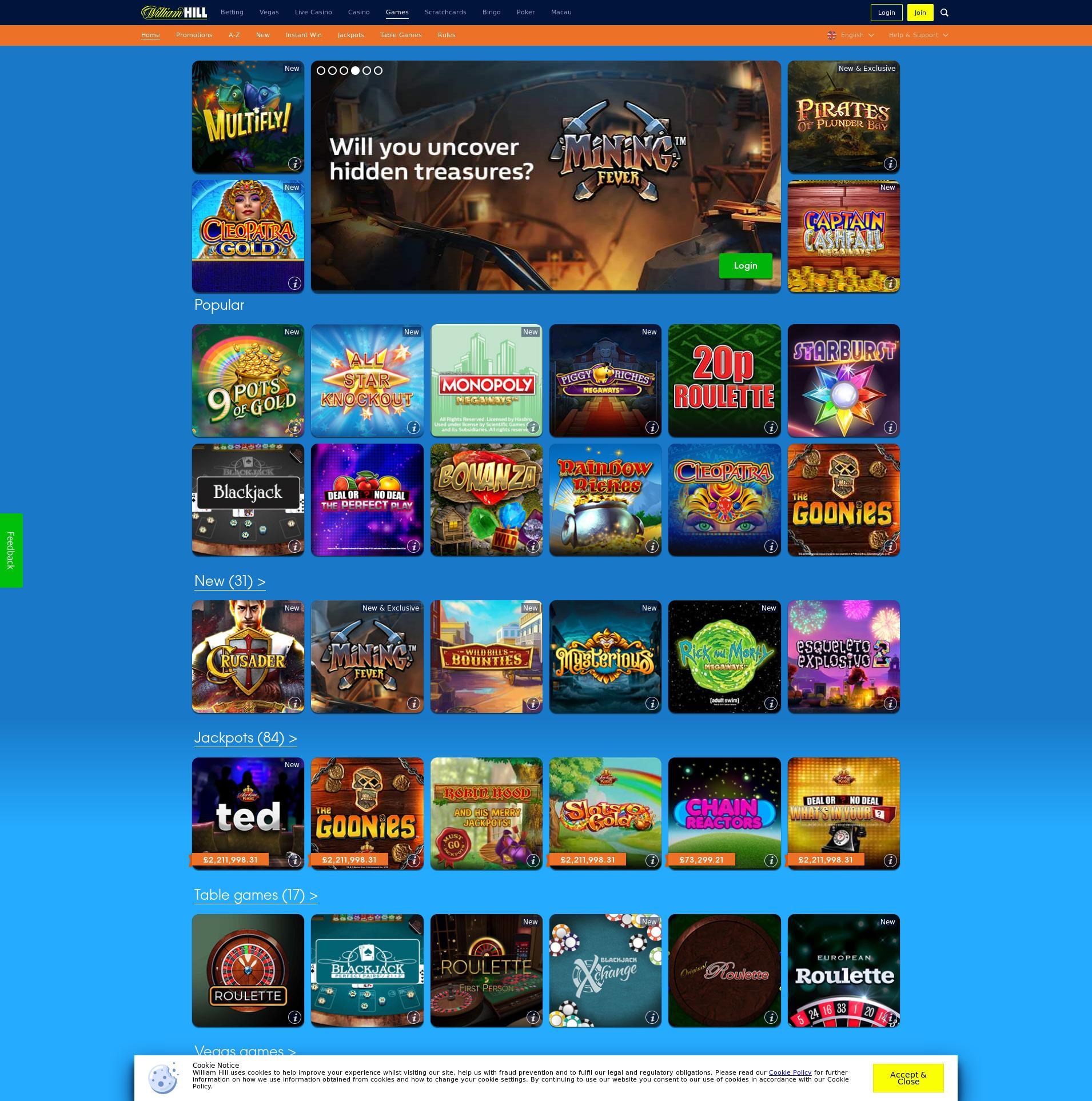 Casino screen Lobby 2020-04-02 for United Kingdom