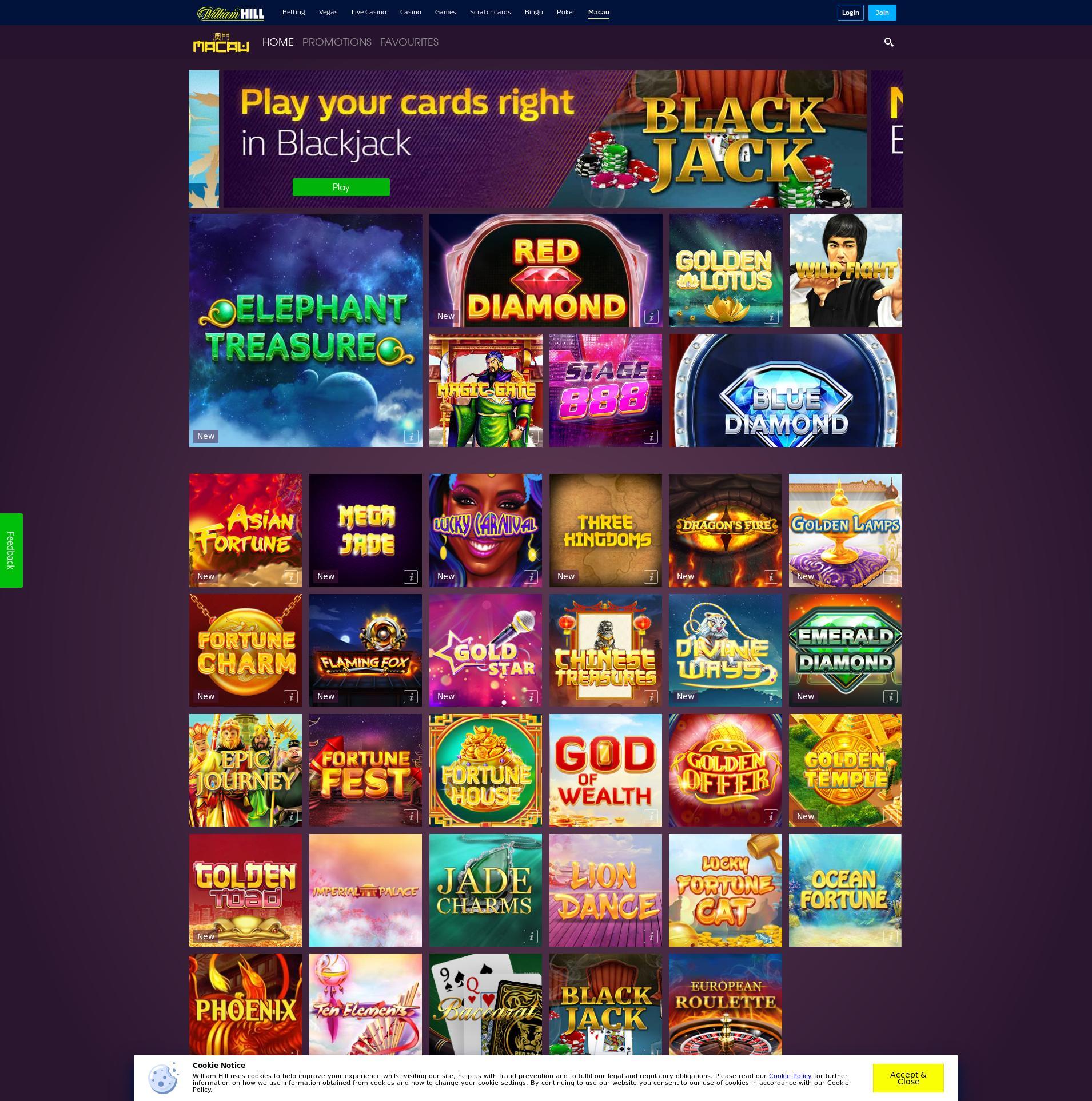 Casino screen Lobby 2019-06-25 for United Kingdom