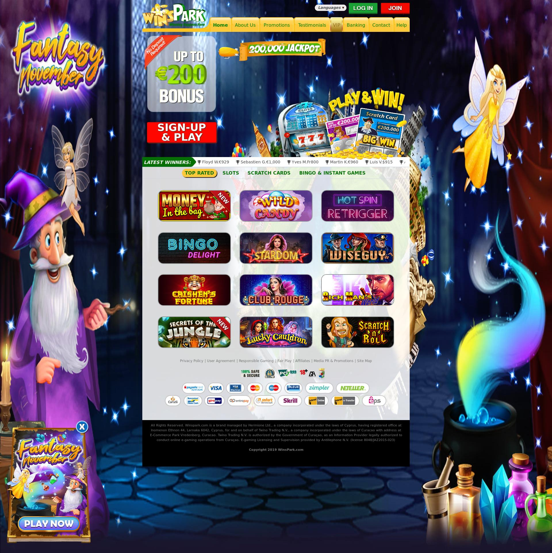 Casino scherm Lobby 2019-11-17 voor Nederland