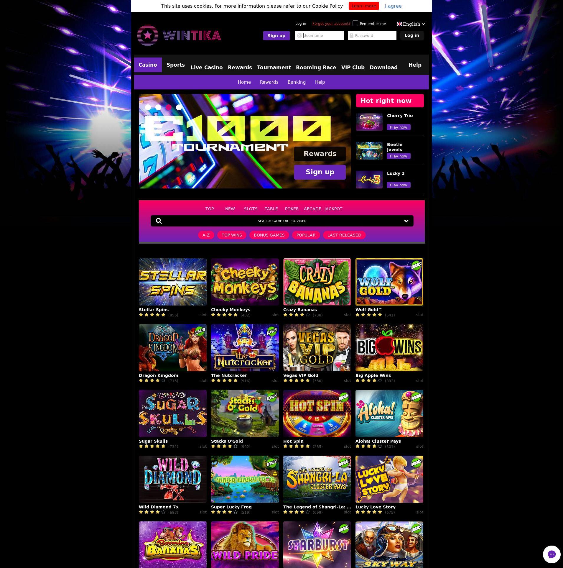 Casino Bildschirm Lobby 2019-07-21 zum Deutschland