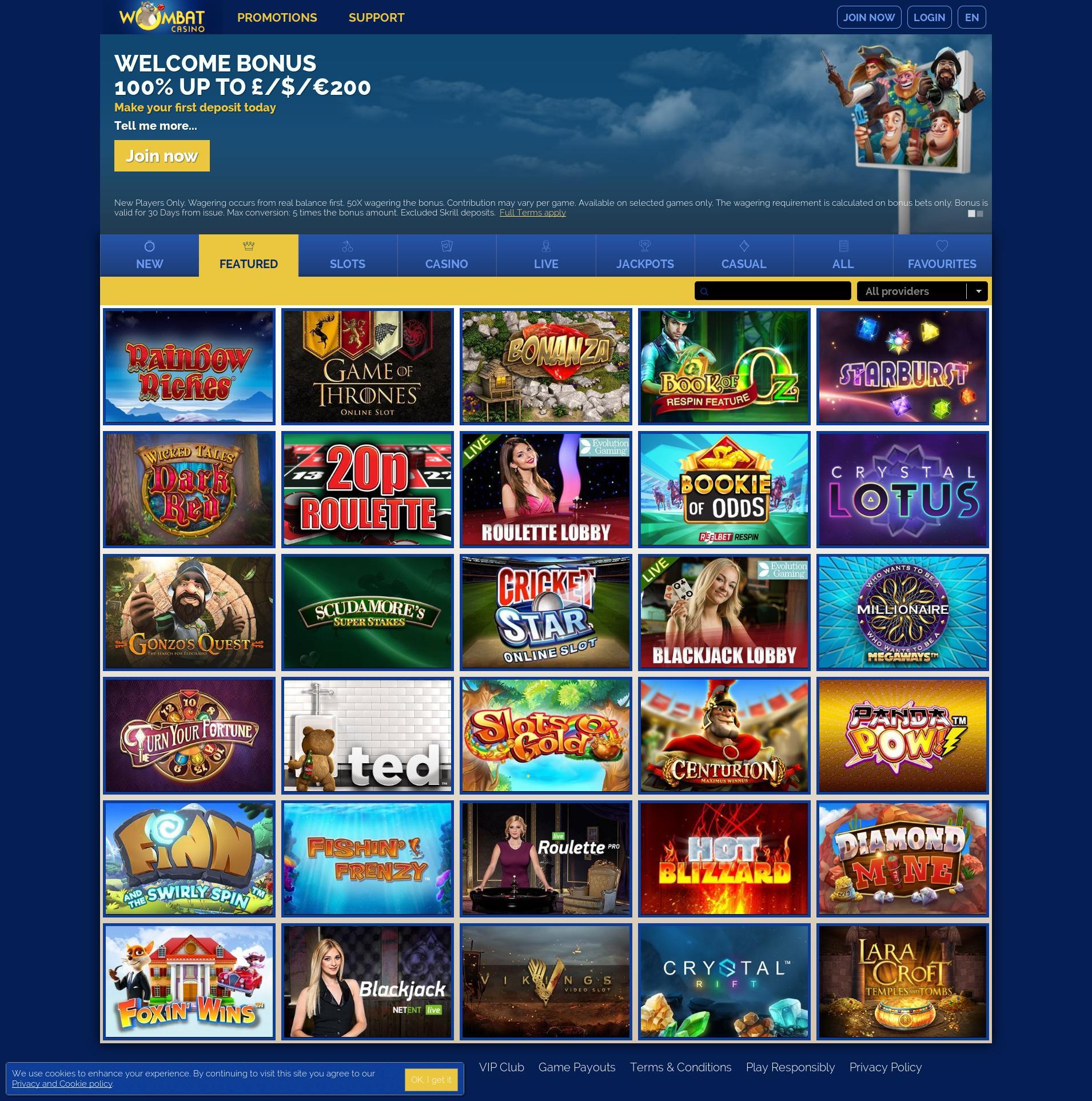 Casino screen Lobby 2019-07-15 for United Kingdom