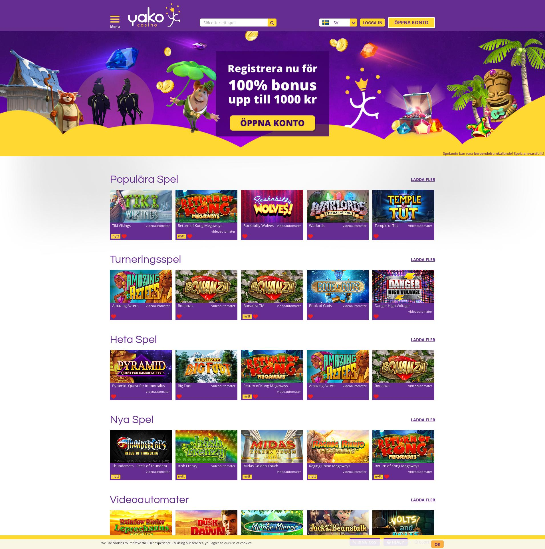 Casino screen Lobby 2019-08-17 for Sweden