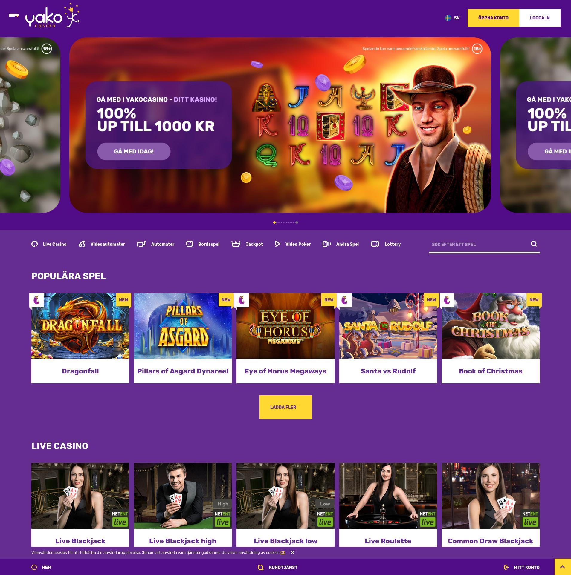 Casino screen Lobby 2019-12-14 for Sweden