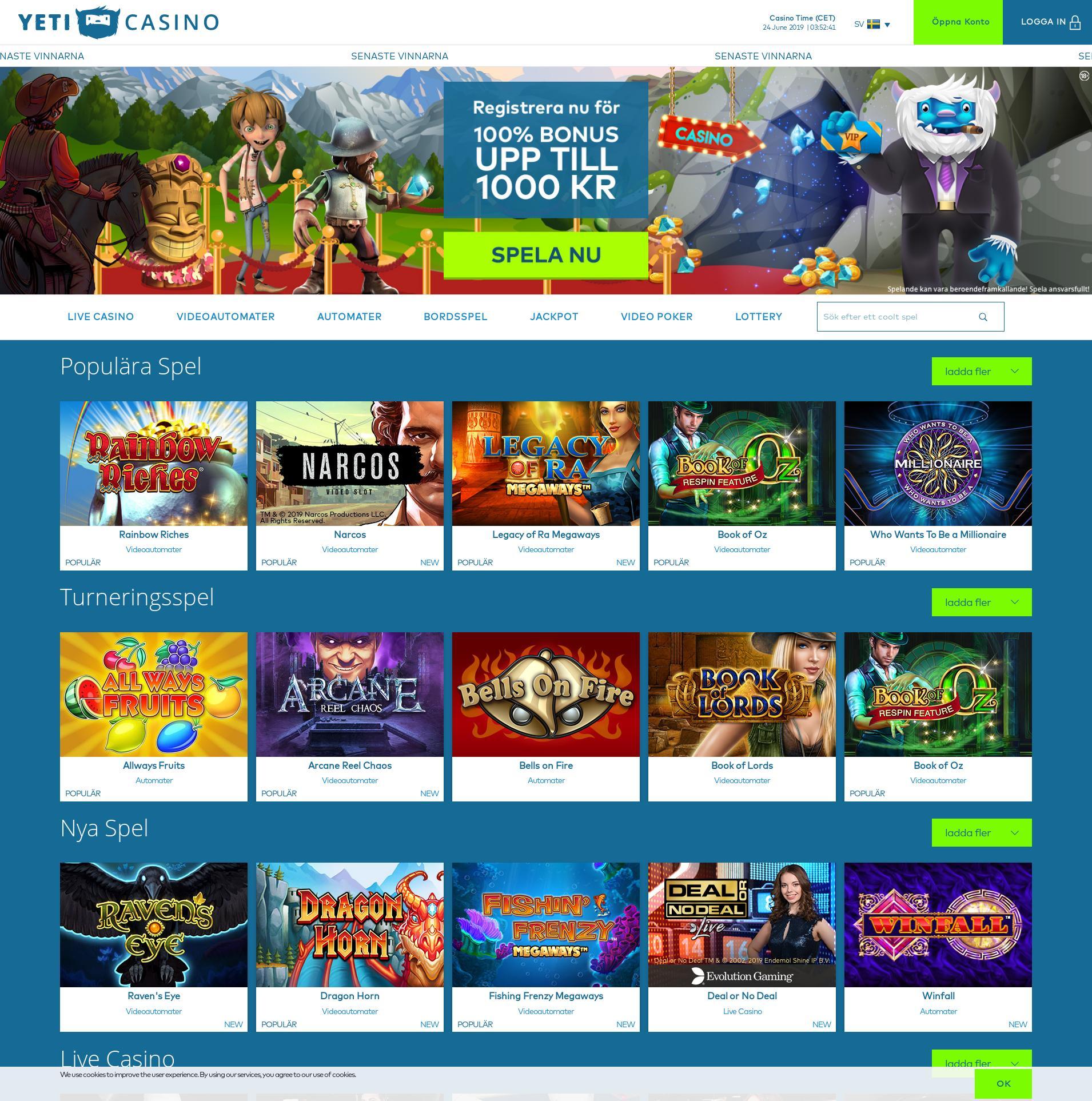 Casino screen Lobby 2019-06-24 for Sweden
